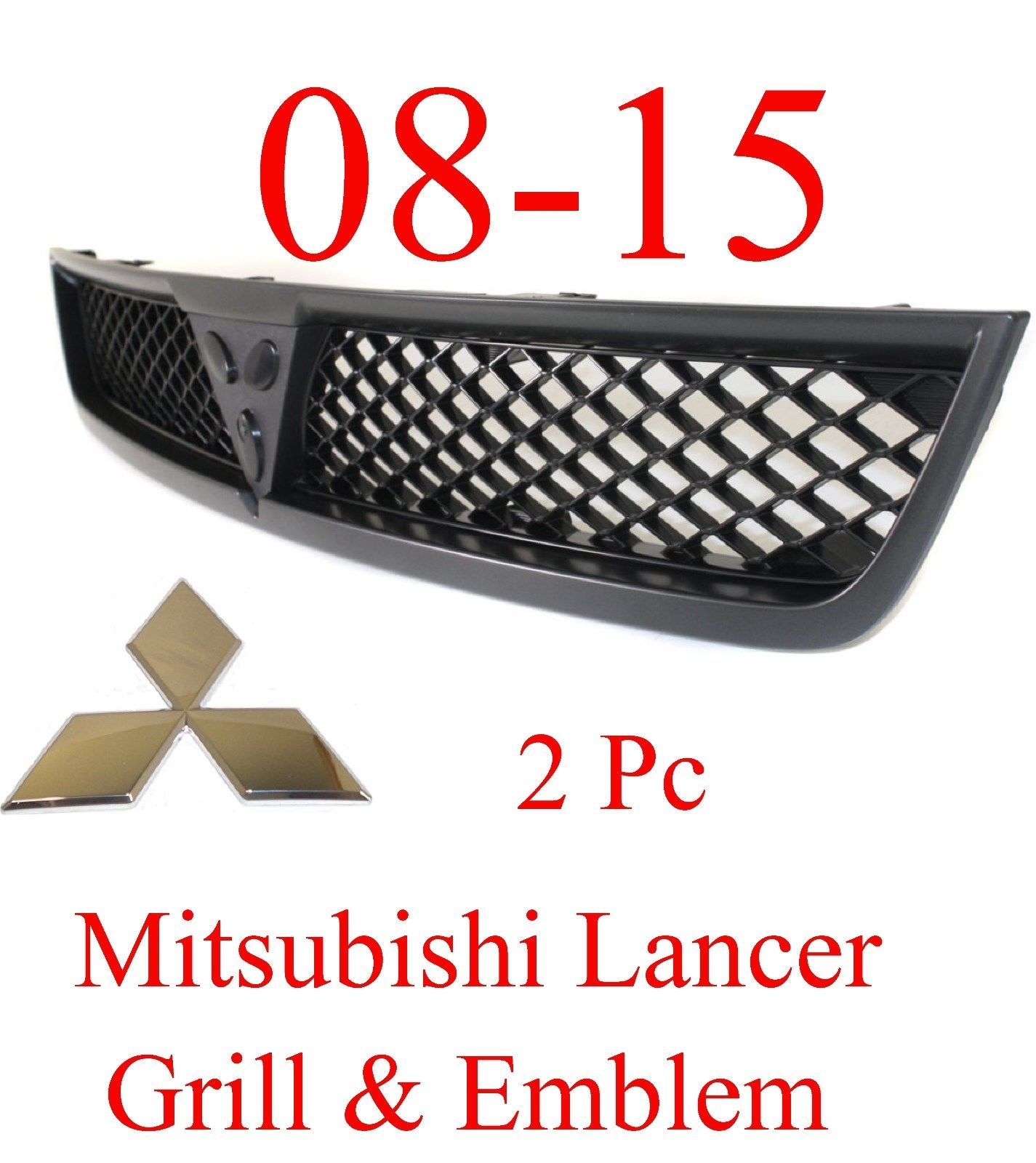 08-15 Mitsubishi Lancer 2Pc Black Grill & Chrome Emblem