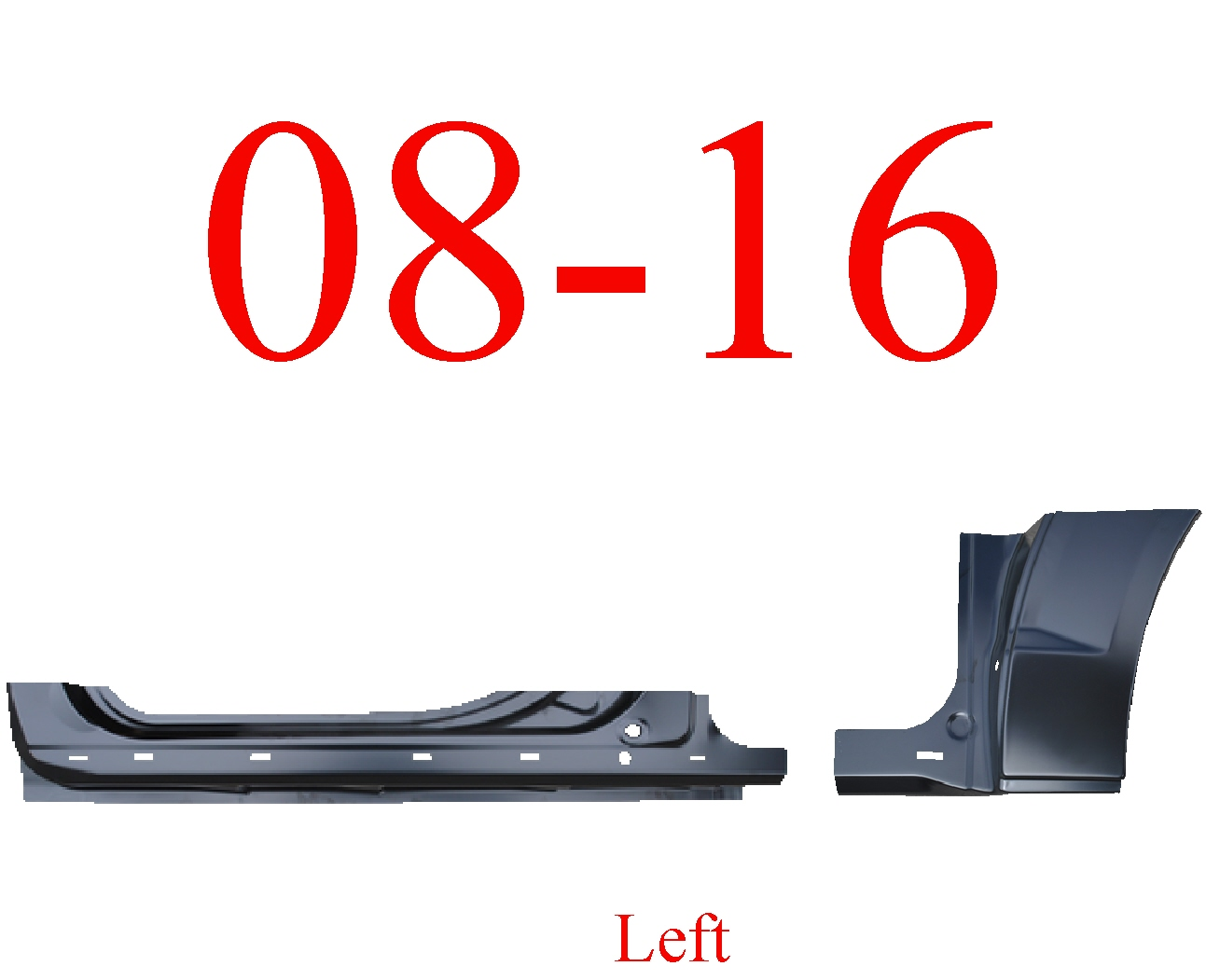 08-16 Grand Caravan 2Pc Left Extended Rocker Panel & Dog Leg