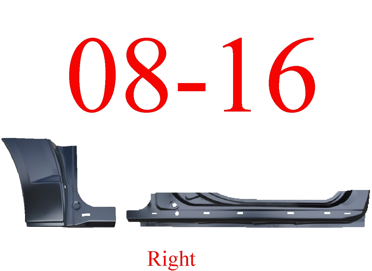 08-16 Grand Caravan 2Pc Right Extended Rocker Panel & Dog Leg