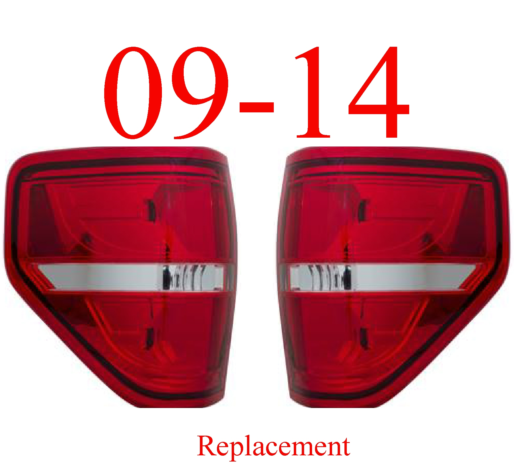 09-14 Ford F150 Tail Light Set Red