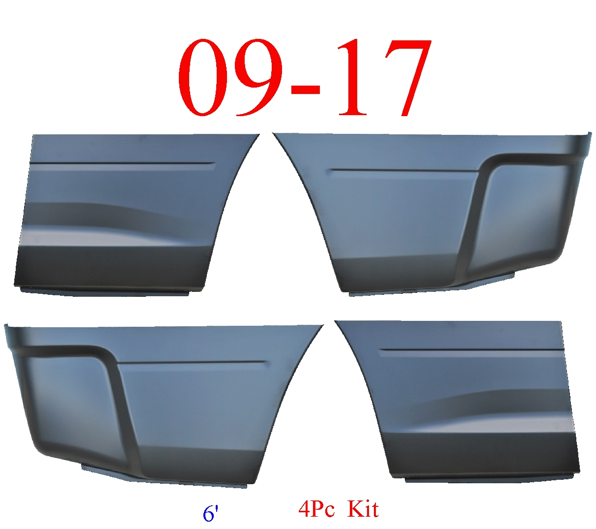 09-17 Ram 6' 4Pc Lower Bed Patch Kit, Front & Rear