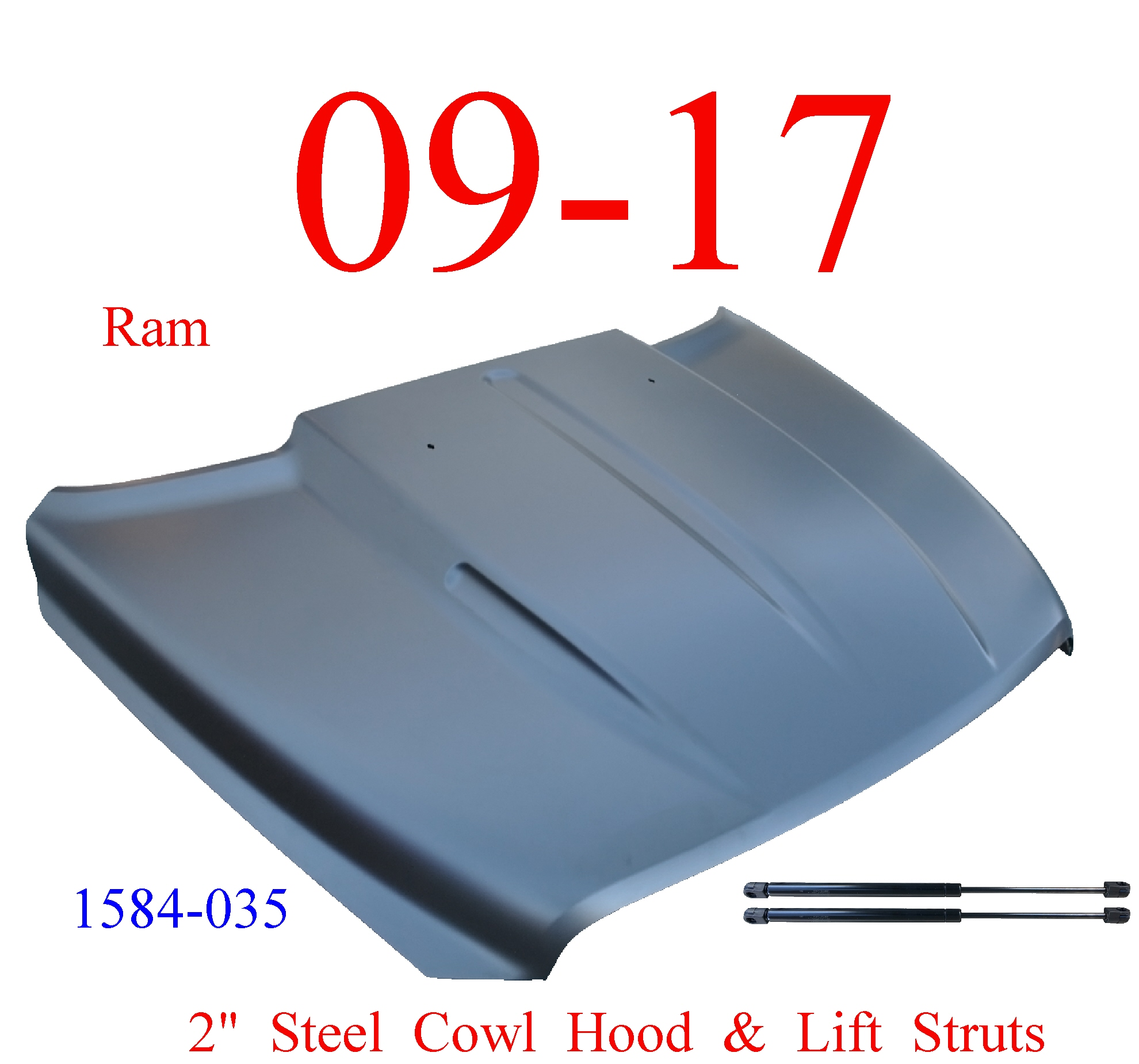 "09-17 Ram 2"" Cowl Hood Steel Bolt On W/ Latch & Lift Struts"