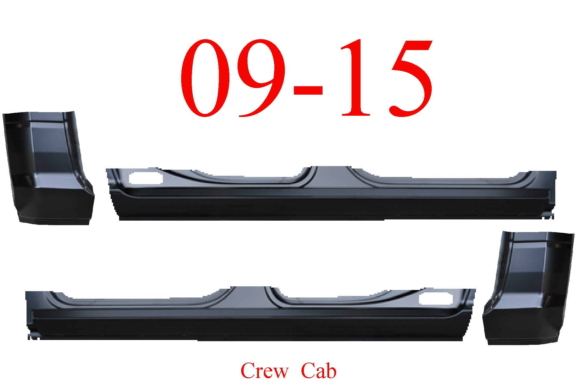 09-15 Ram 4Pc Crew Cab Extended Rocker Set & Cab Corners