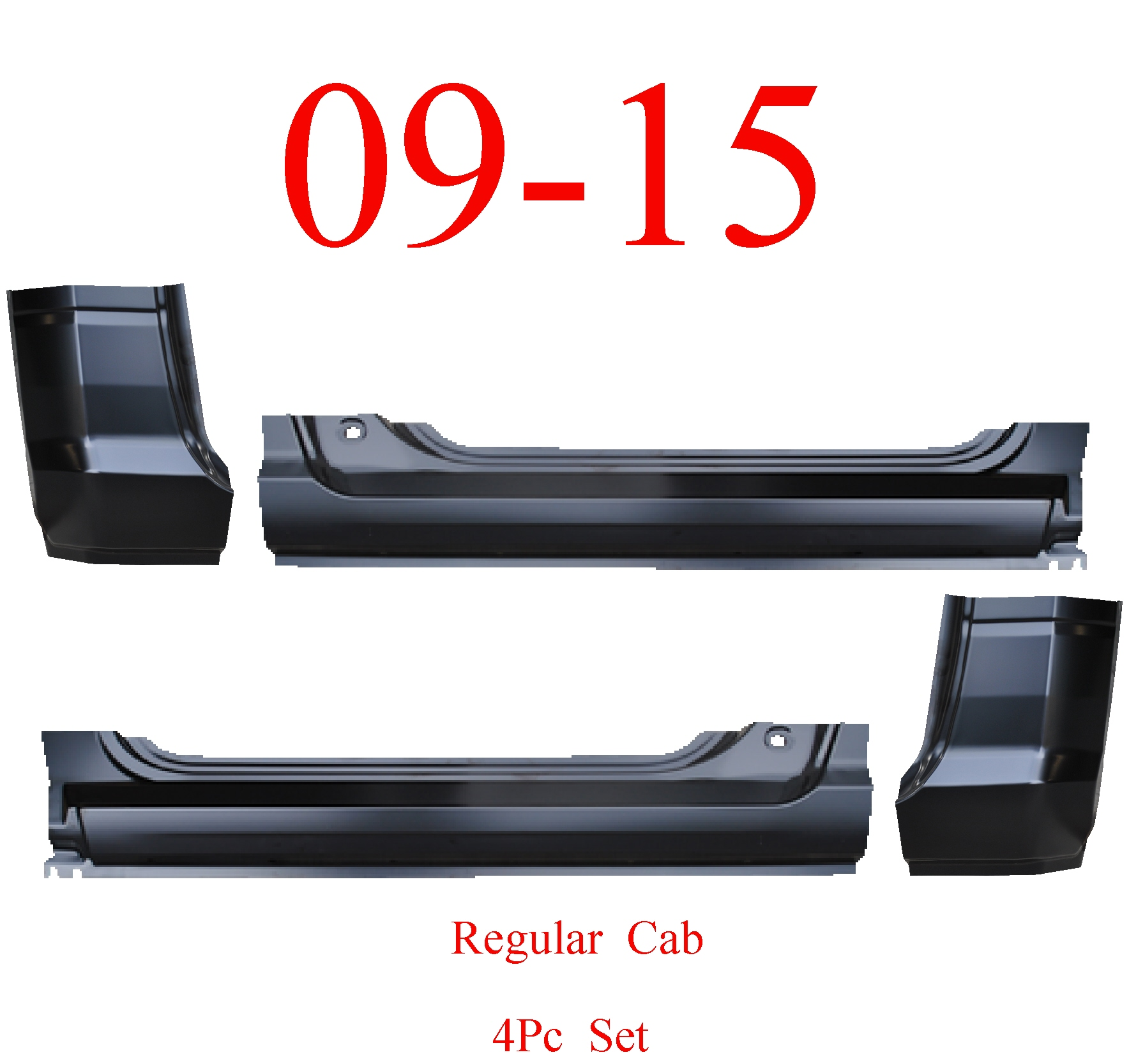 09-15 Ram 4Pc Regular Cab Extended Rocker & Cab Corner Kit
