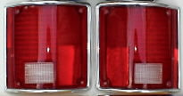 73-87 Chevy & GMC Tail Light Set With Chrome Trim