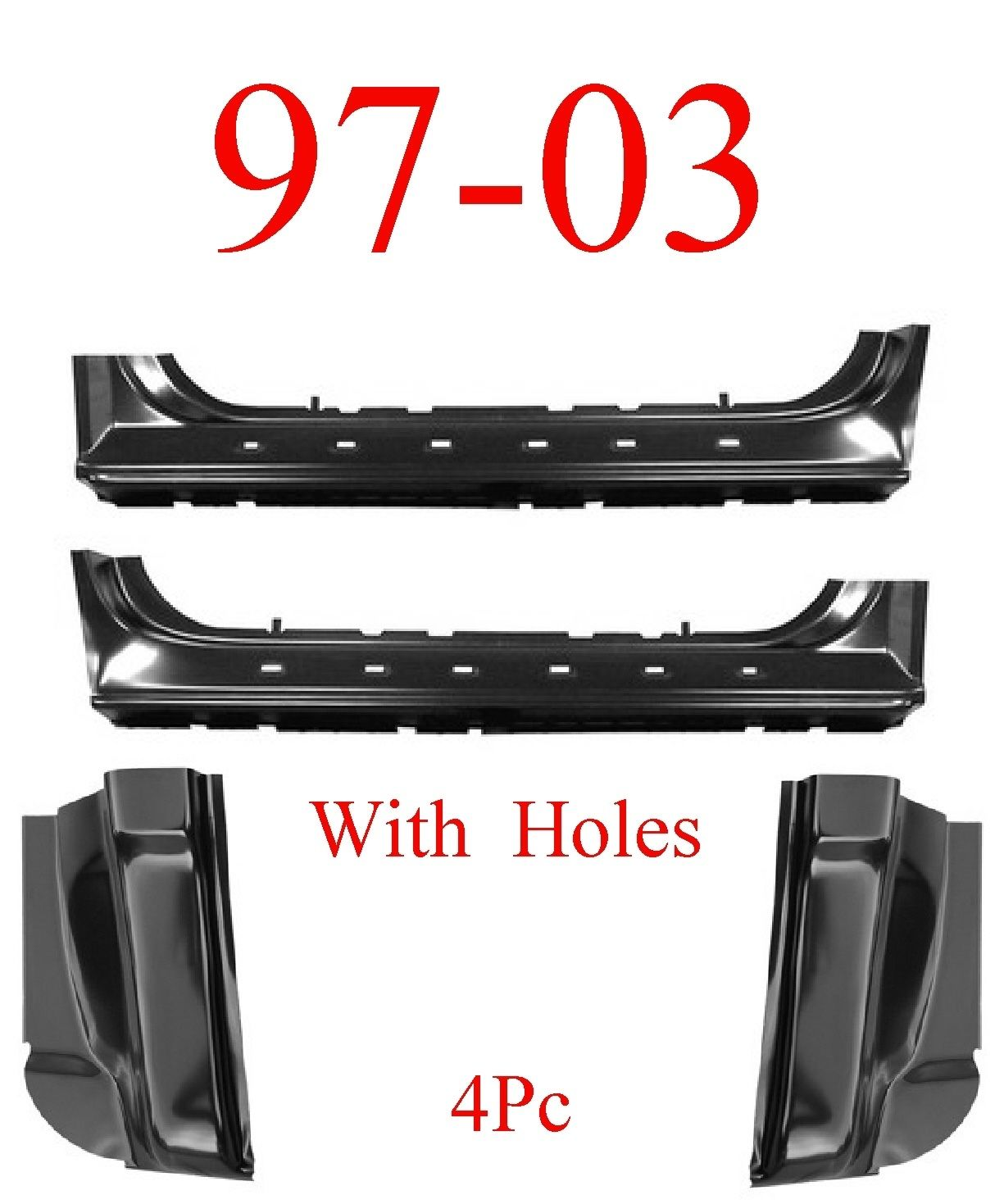 97-03 Ford 4Pc Extended Rocker & Cab Corner Kit, With Holes
