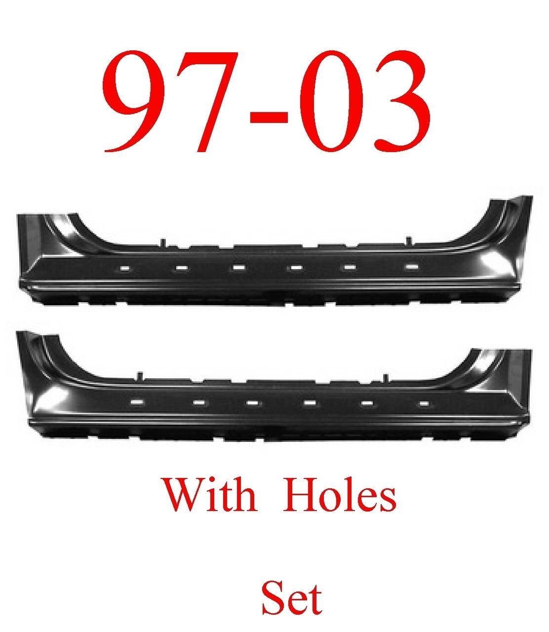 97-03 Ford Extended Rocker Set With Holes