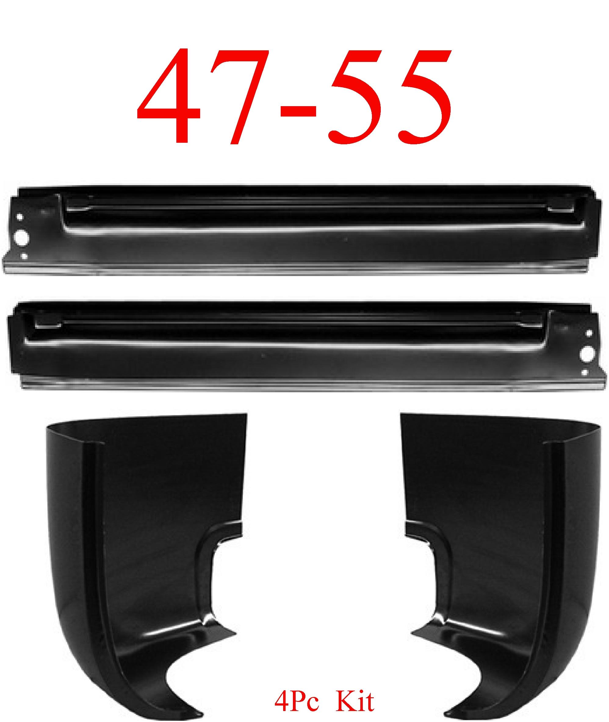 47-55 Chevy GMC 4Pc Extended Rocker & Cab Corner Kit, 1st Design