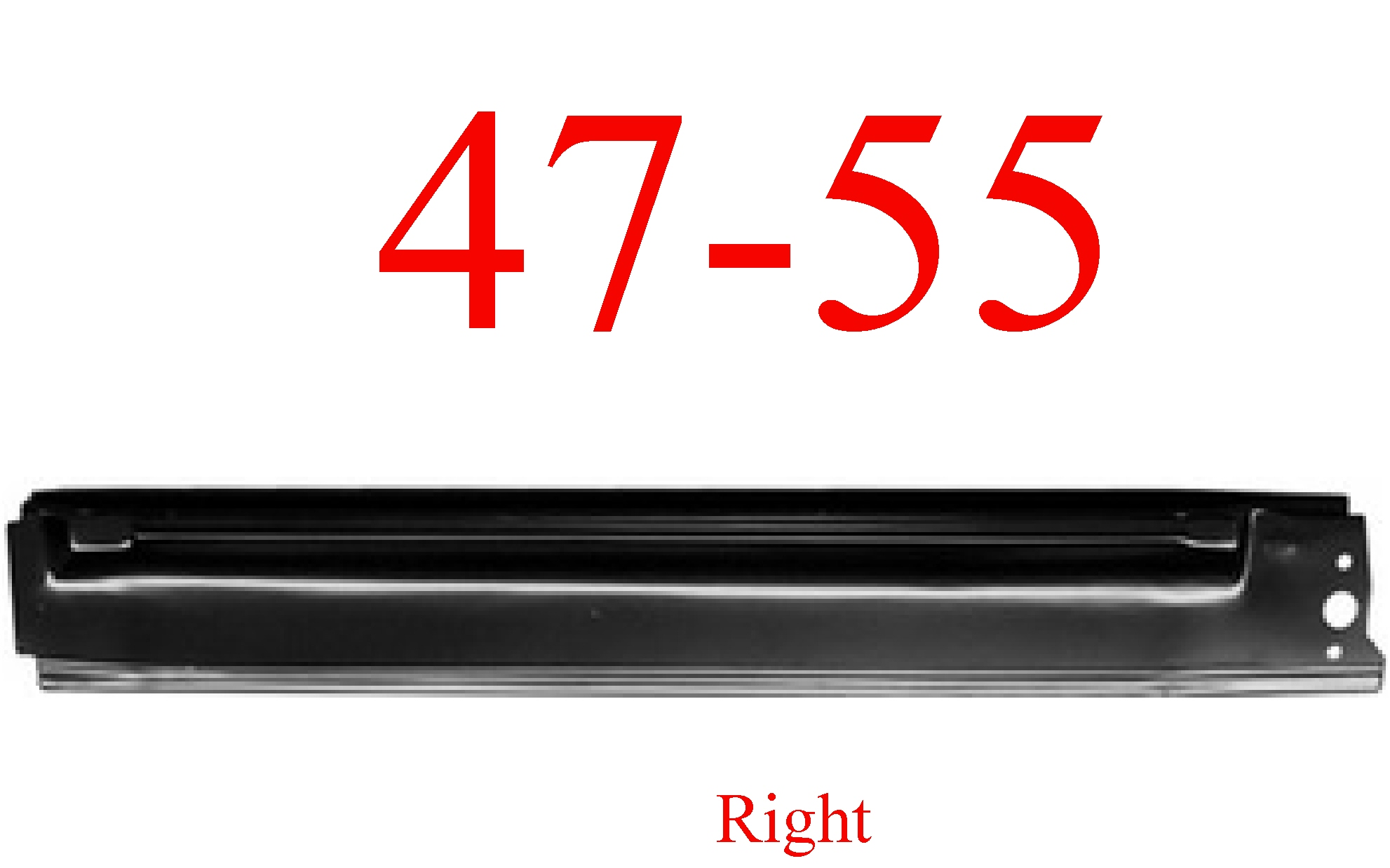 47-55 Chevy GMC Right Extended Rocker Panel, 1st Design