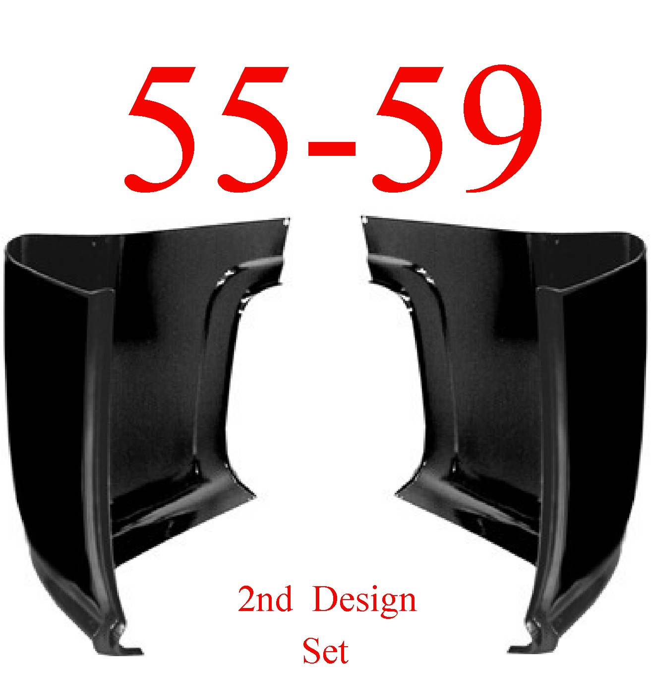 55-59 Chevy GMC Cab Corner Set, 2nd Design
