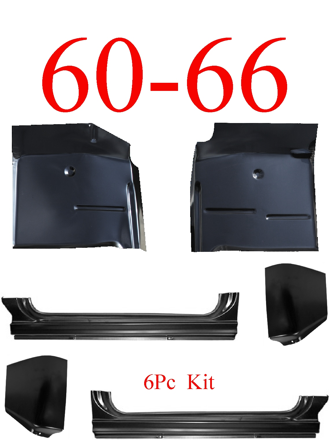 60-66 Chevy 6Pc Extended Rocker, Cab Corner & Floor Pan Kit