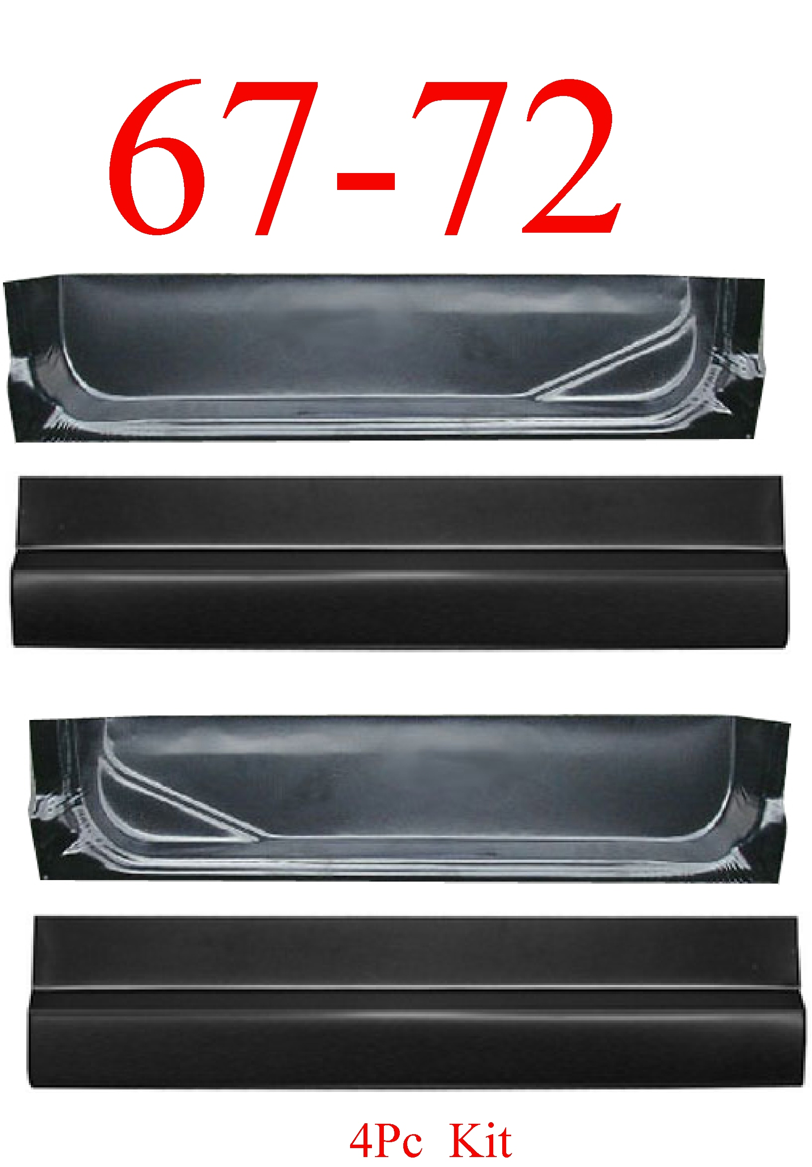 67-72 Ford 4Pc Door Skin & Inner Bottom Kit