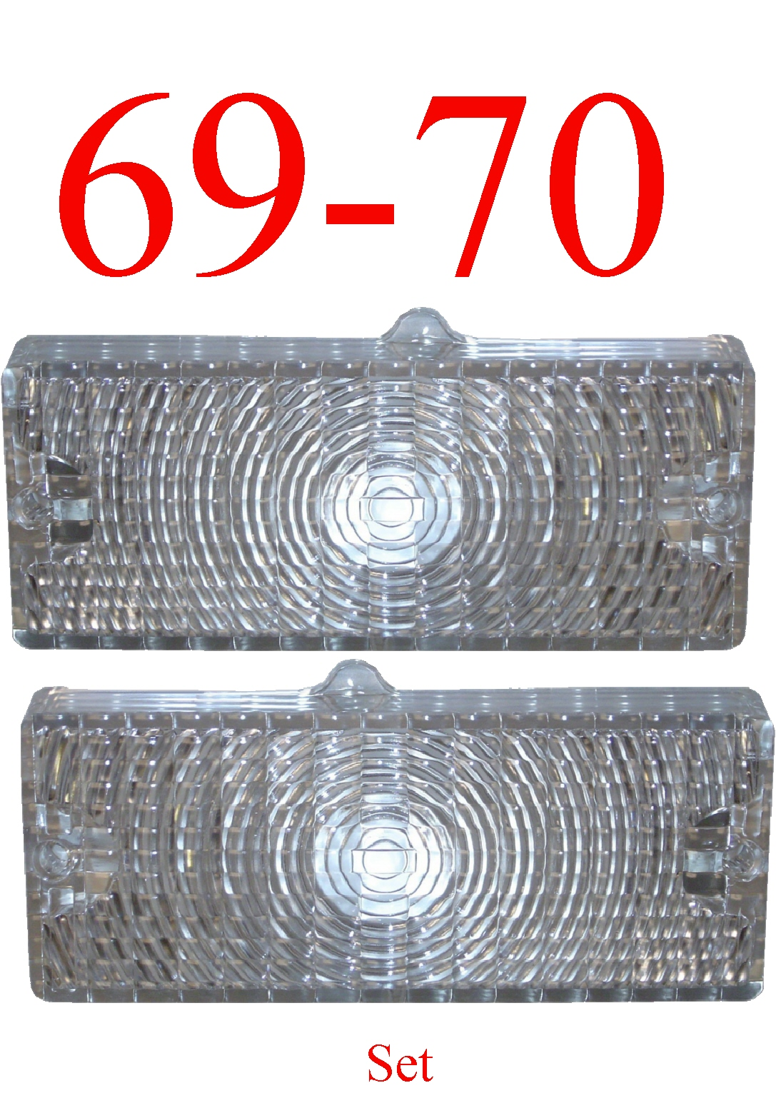 69-70 Chevy 2Pc Clear Parking Light Set L&R