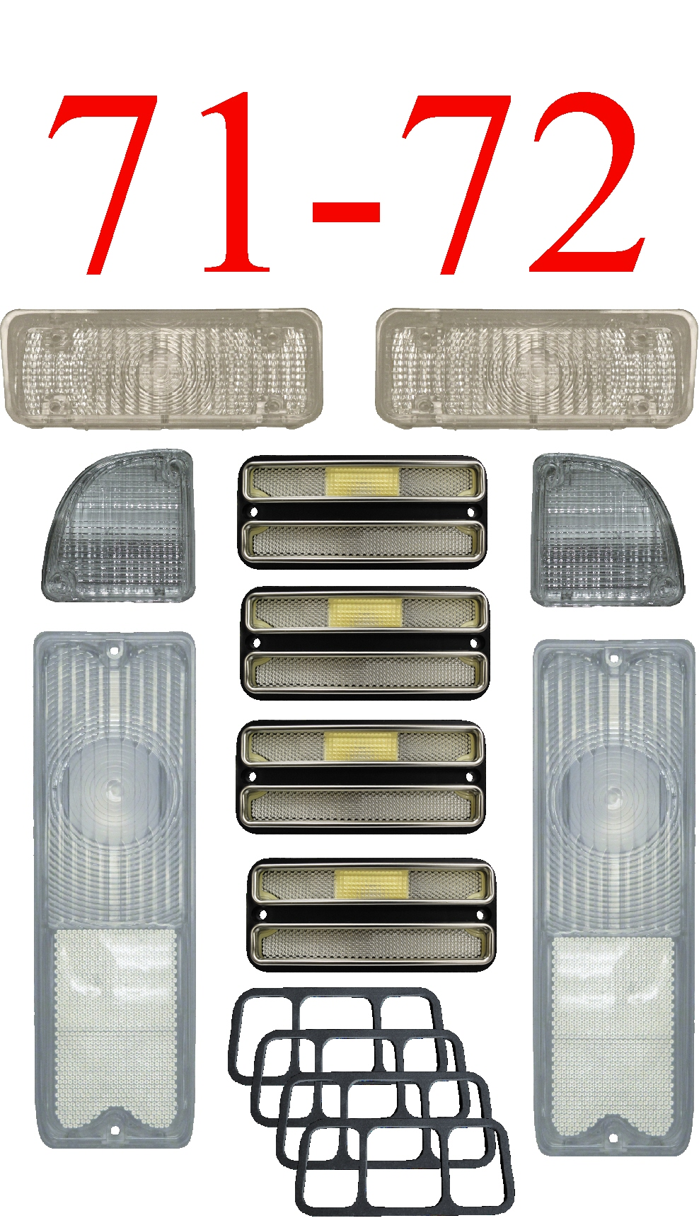71-72 Chevy 10Pc All Clear Tail Light, Deluxe Side & Parking