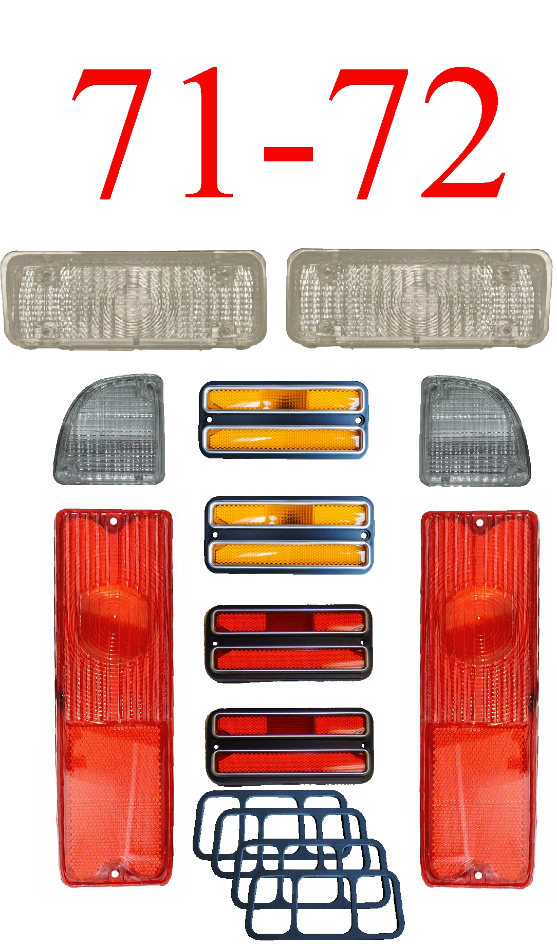 71-72 Chevy 10Pc Tail Light, Deluxe Side & Clear Parking Light