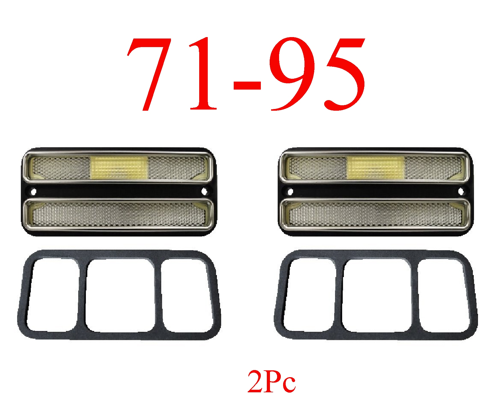 71-95 Chevy Van 2Pc Deluxe Front Clear Side Lights