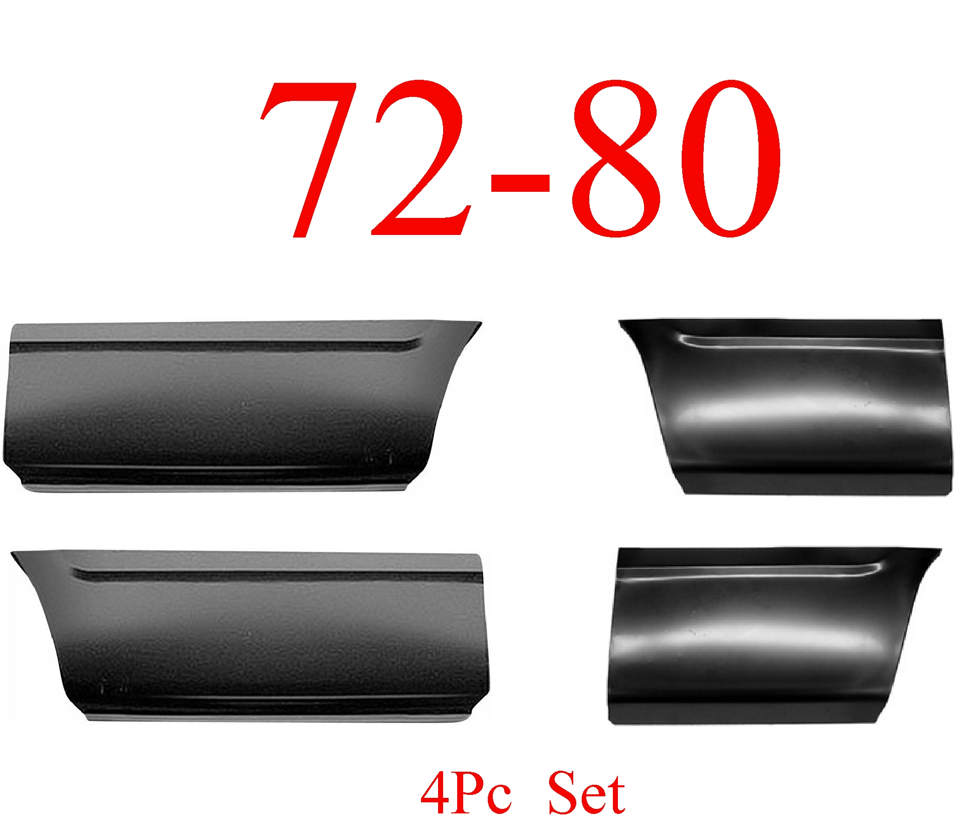 72-80 Dodge 4Pc Front & Rear Lower Bed Panel Set 8'