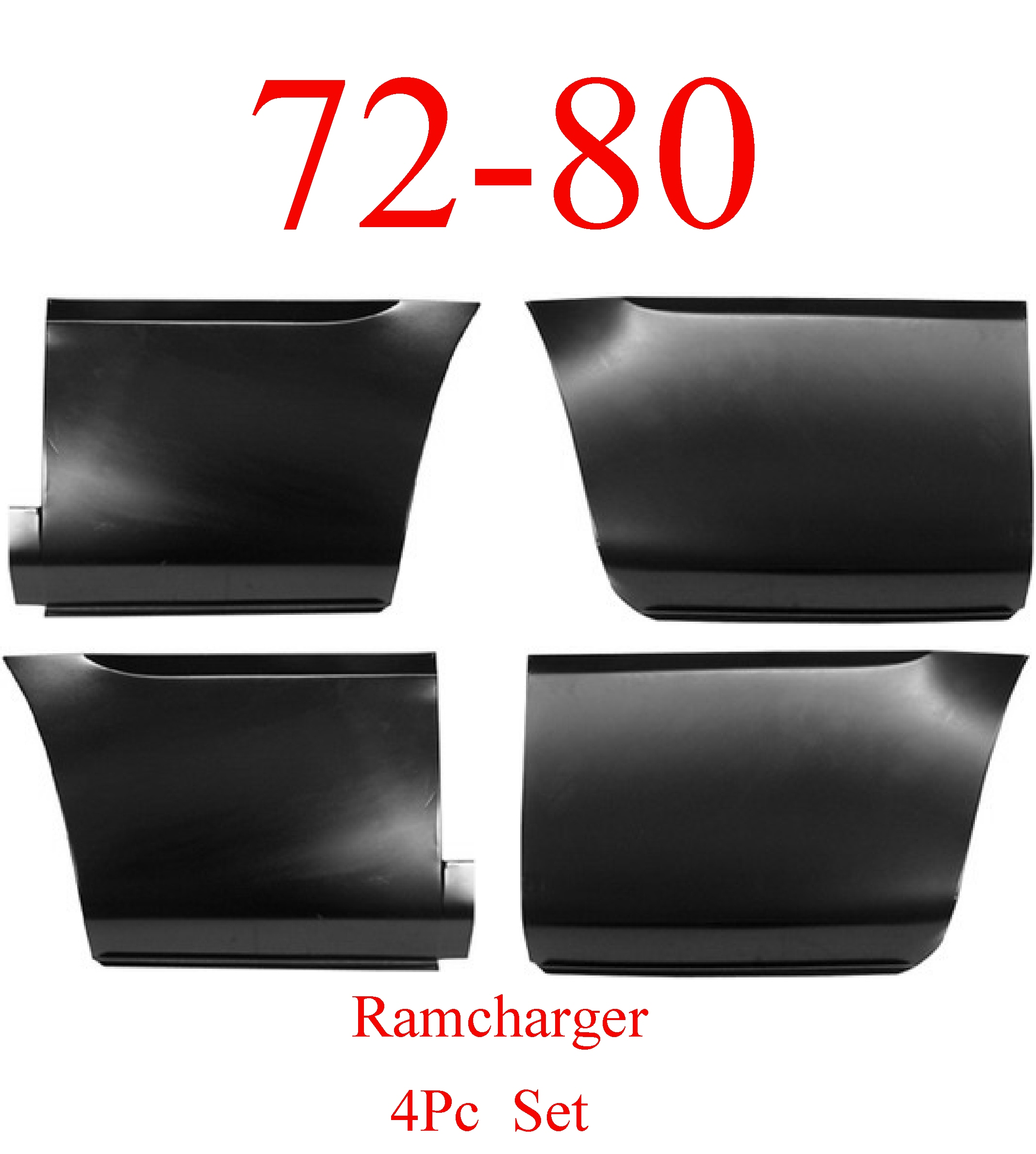 72-80 Dodge 4Pc Ramcharger Front & Rear Lower Bed Panel Set