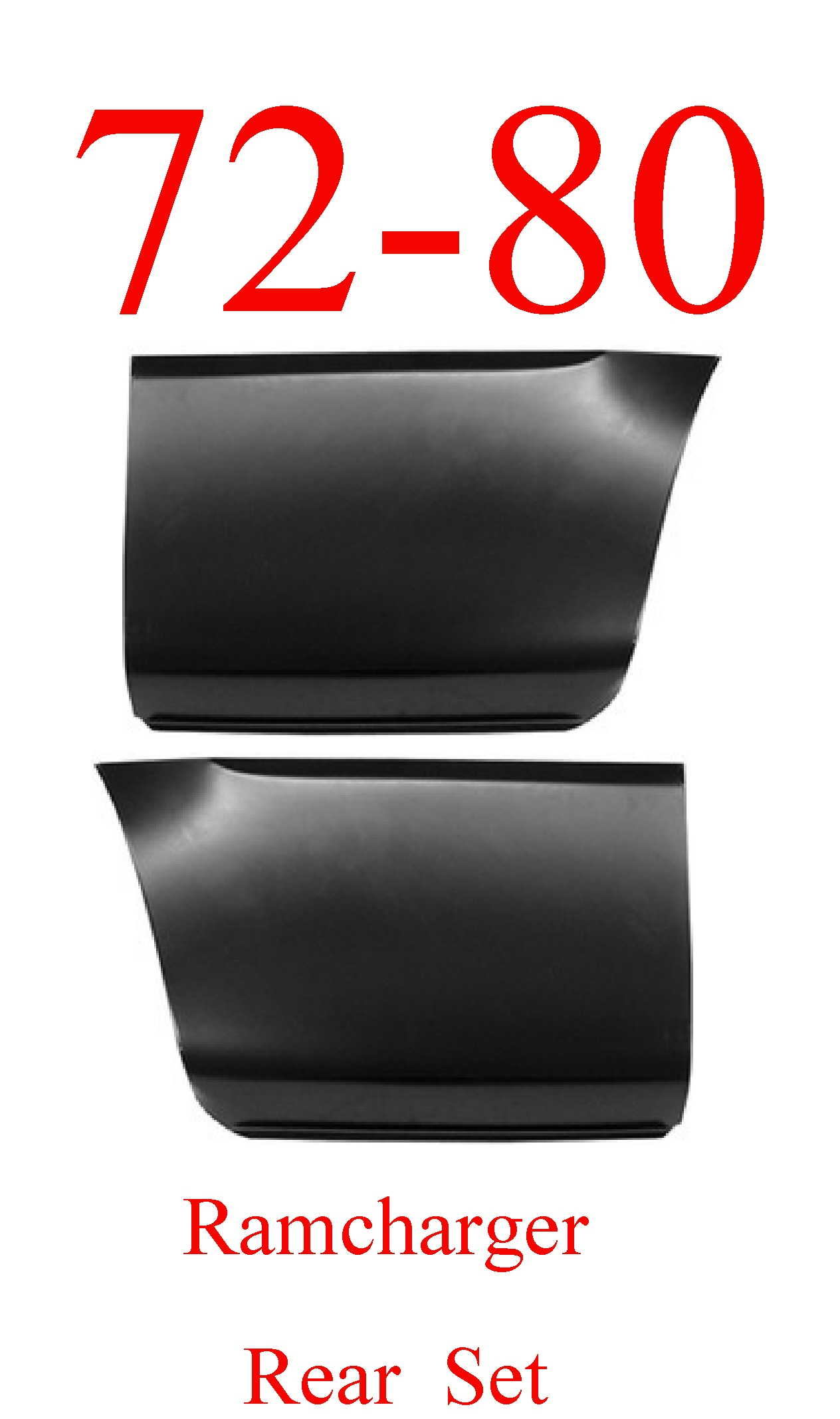 72-80 Dodge Ramcharger Rear Lower Bed Panel Set