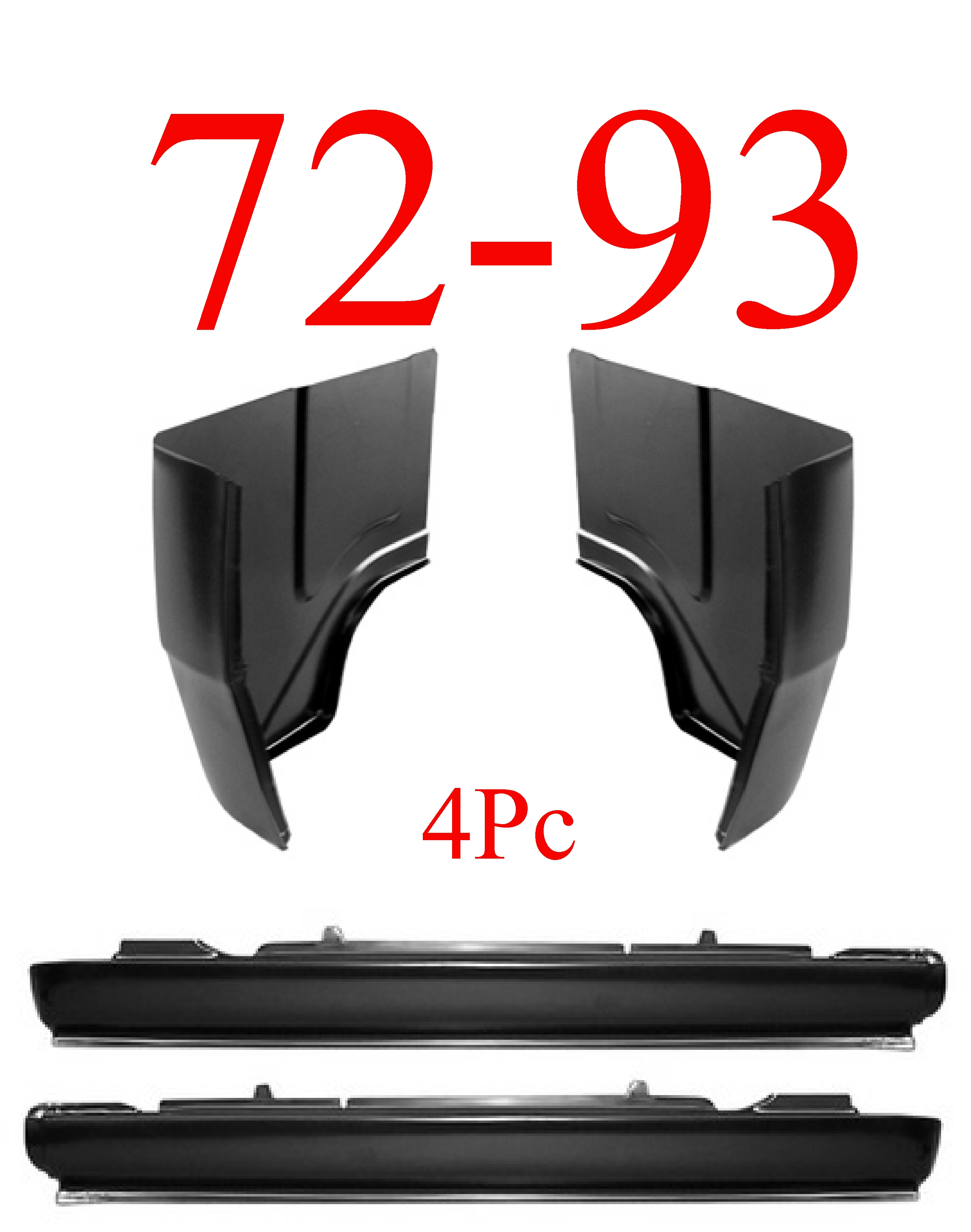 72-93 Dodge Ram 4Pc Extended Rocker & Regular Cab Corner Kit