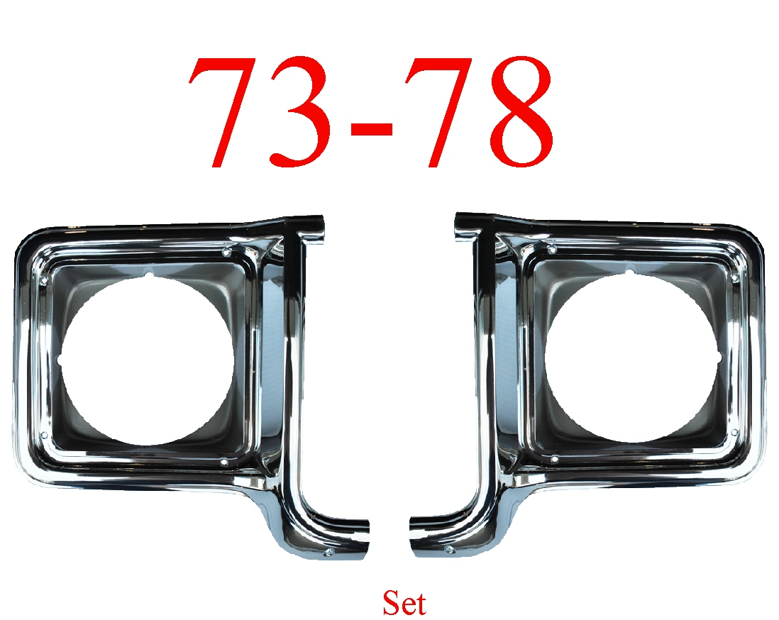 73-78 Chevy 2Pc Chrome Head Light Door Set
