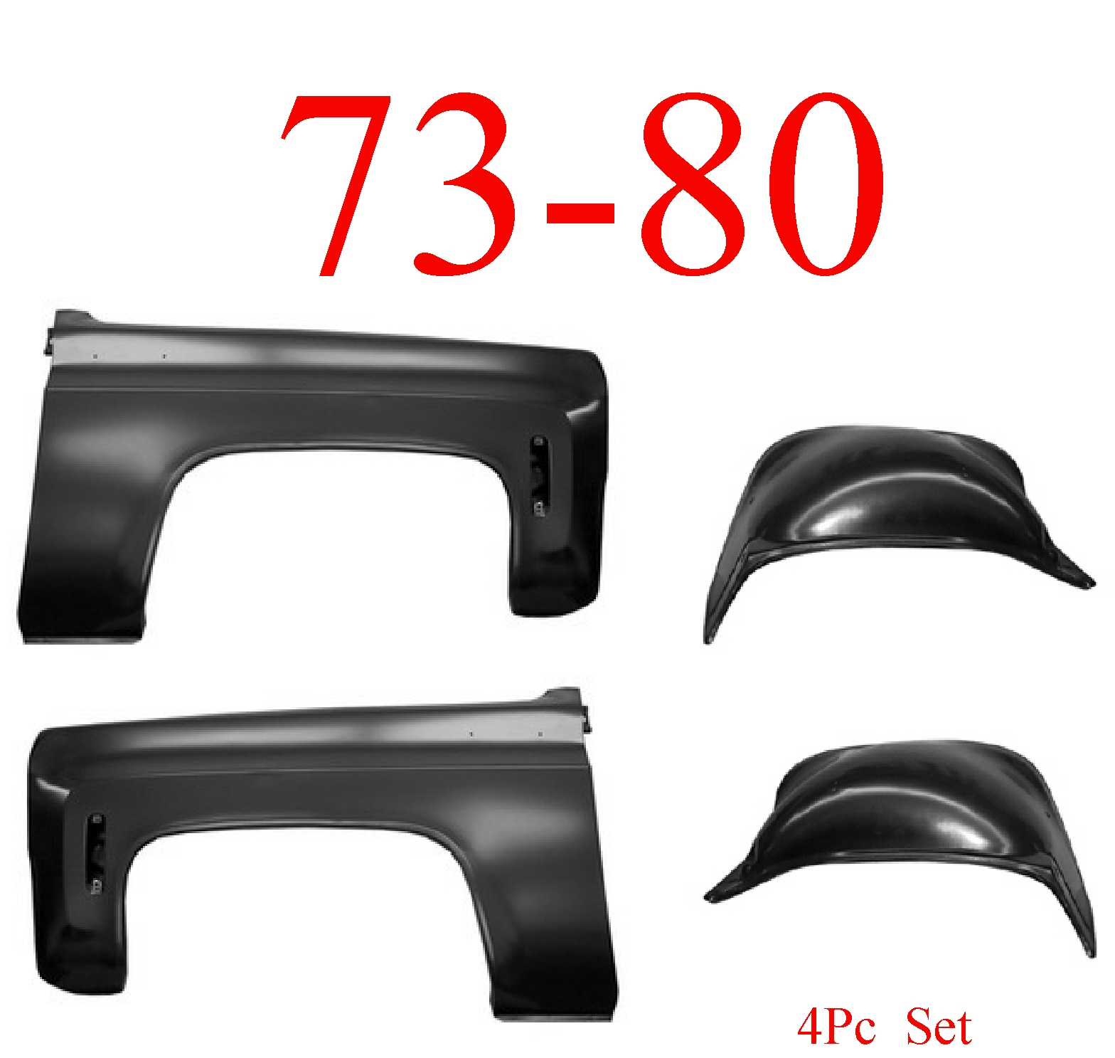 70-80 Chevy 4Pc Front Fender Set Inner & Outer