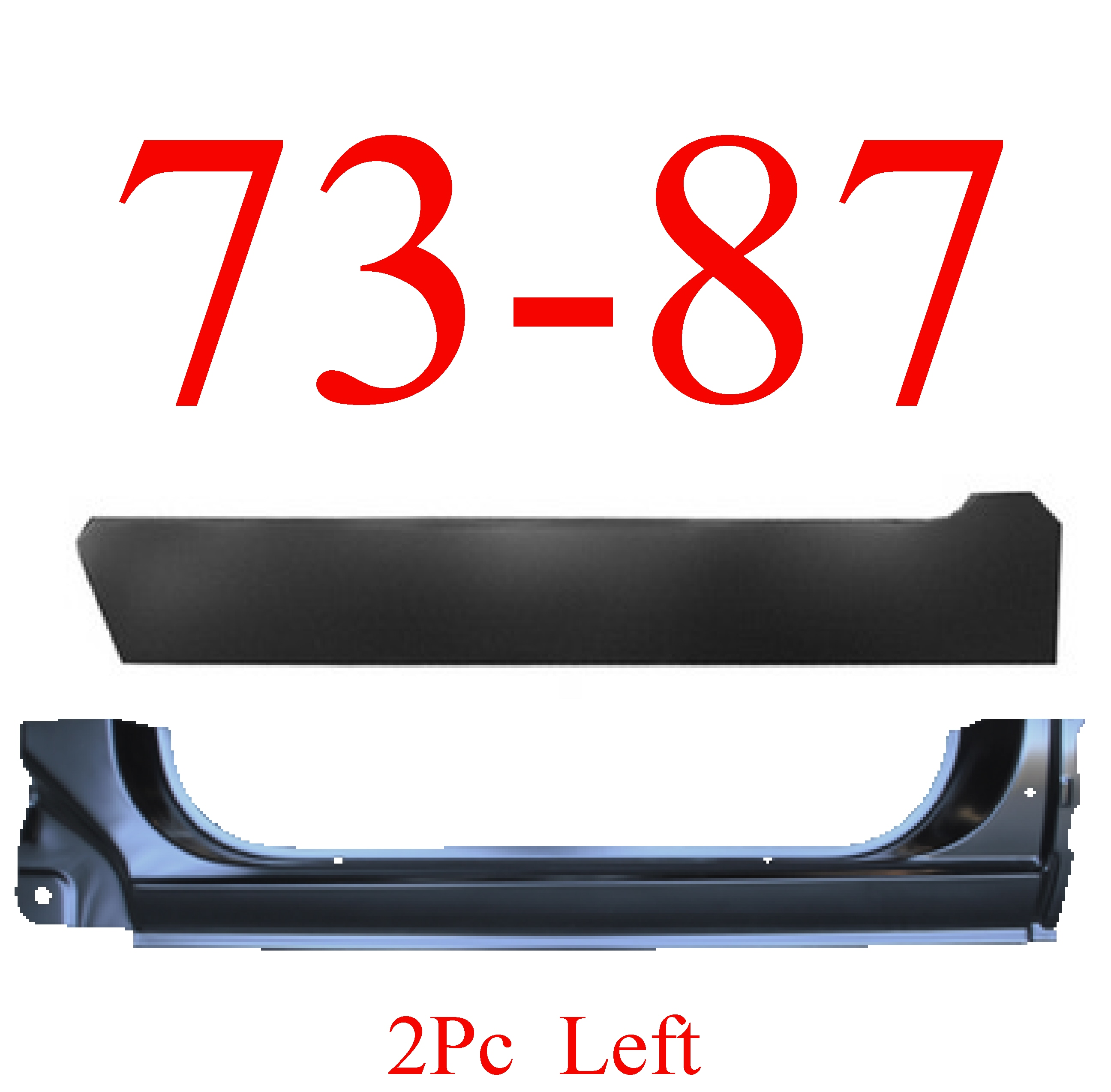 73-87 Chevy 2Pc Left Extended Rocker Panel & Inner