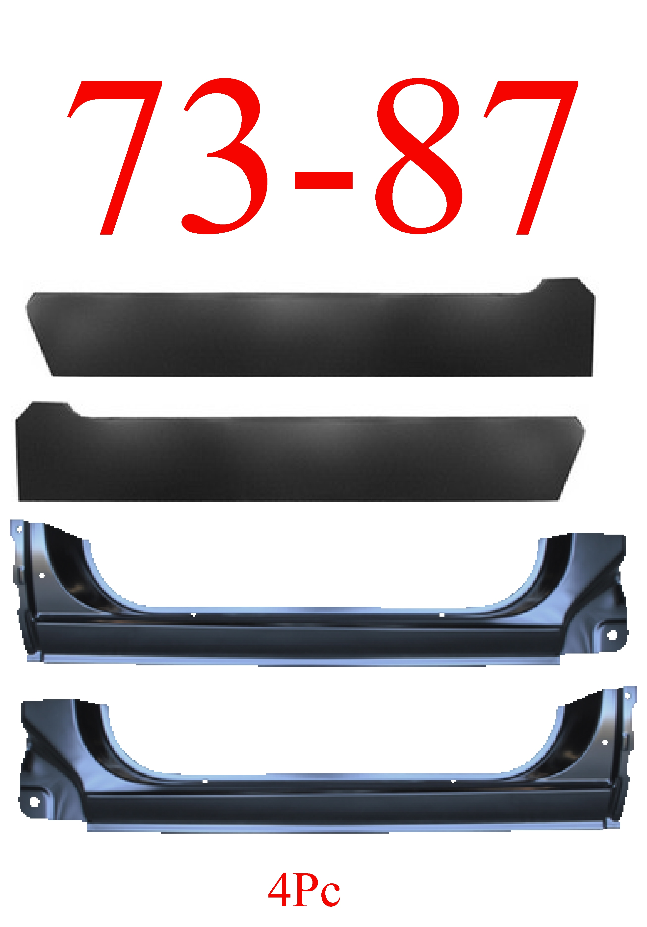 73-87 Chevy 4Pc Extended Rocker Panel & Inner