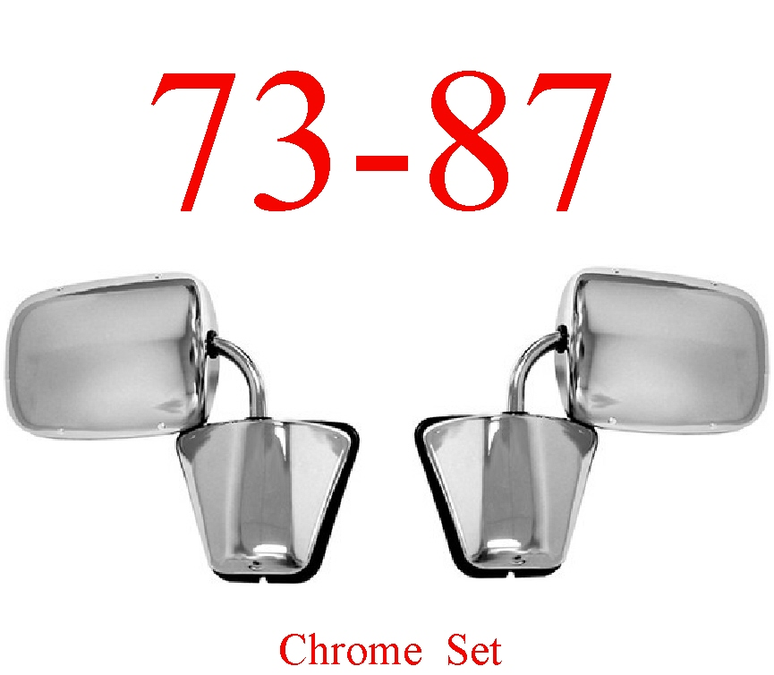 73-87 Chevy Chrome Mirror Assembly Set