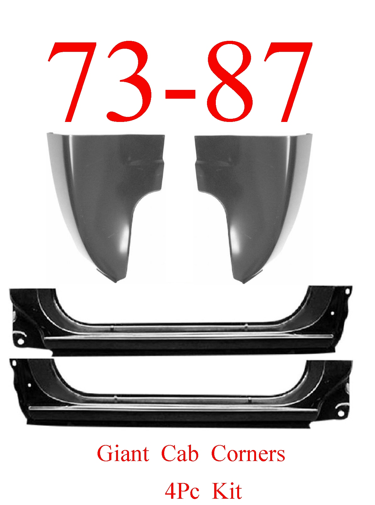 73-87 4Pc Giant Extended Rocker Panel & Cab Corner Kit