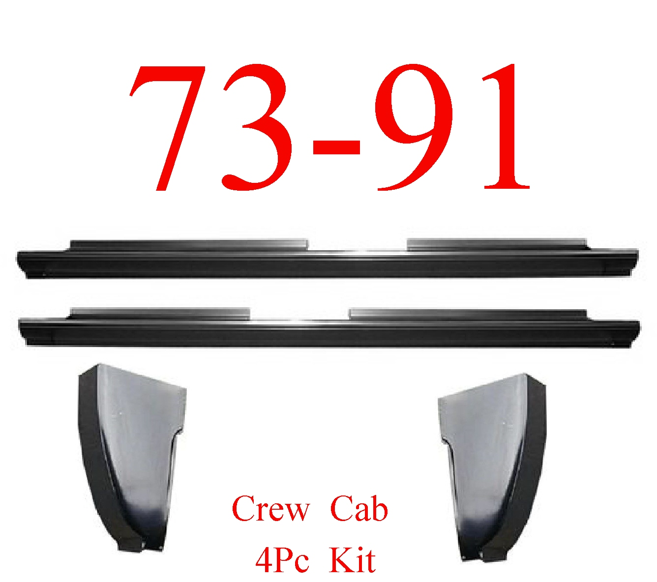 73-91 Chevy 4Pc Crew Cab Slip-On Rocker & Cab Corner Kit