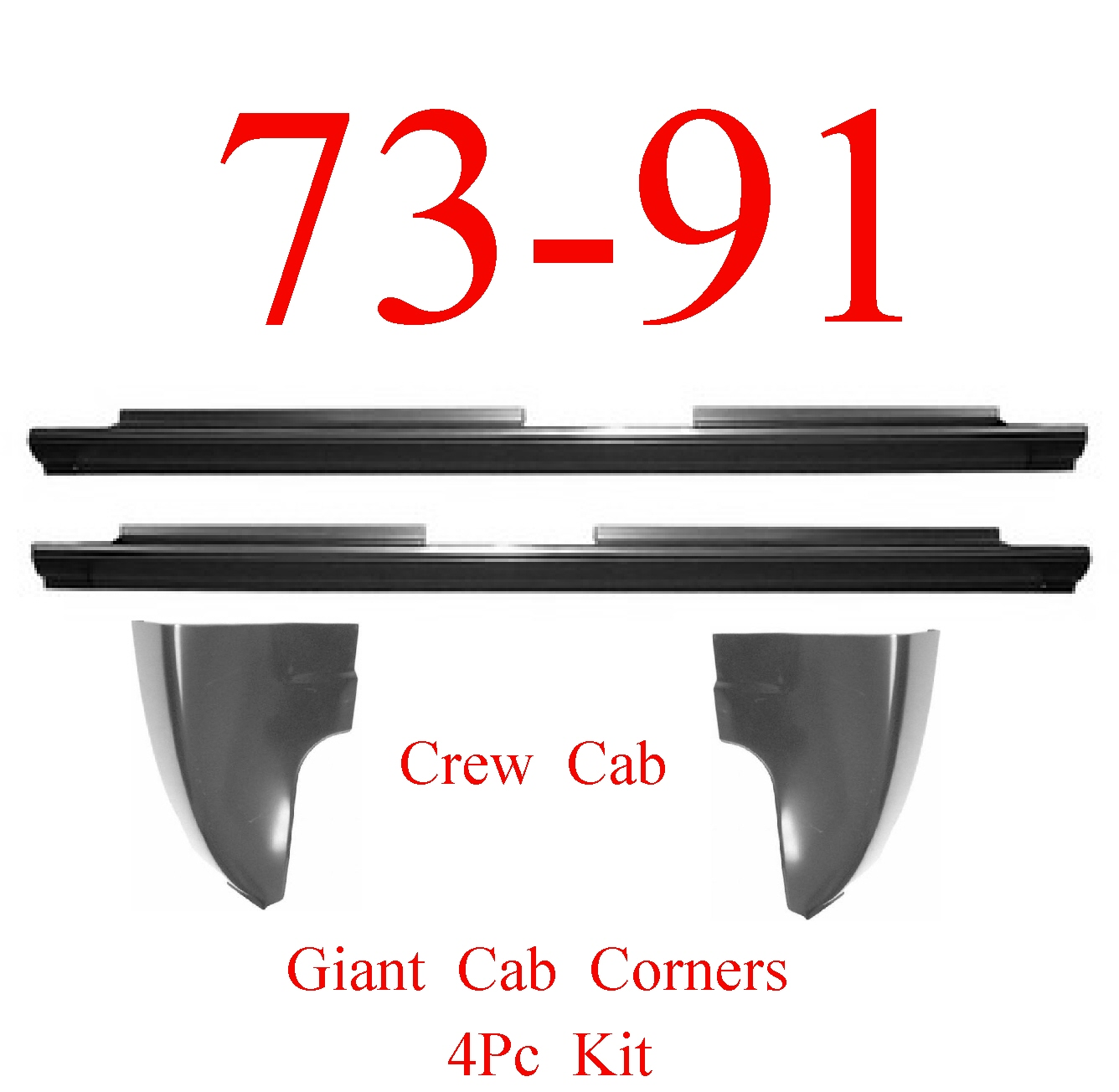 73-91 Chevy 4Pc Crew Cab Slip-On Rocker & Giant Cab Corner Kit