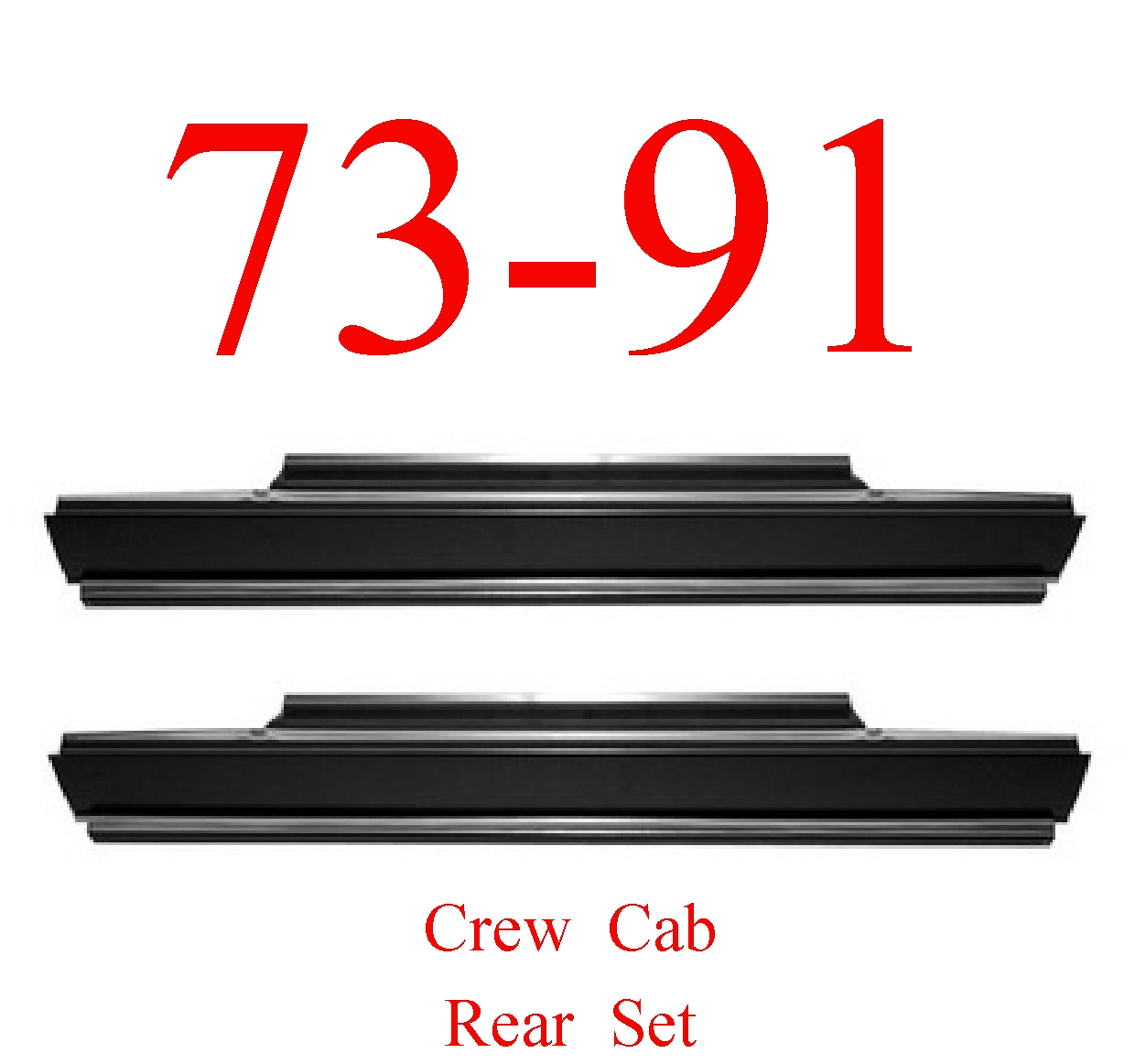 73-91 Chevy Crew Cab Rear Slip-On Rocker Set
