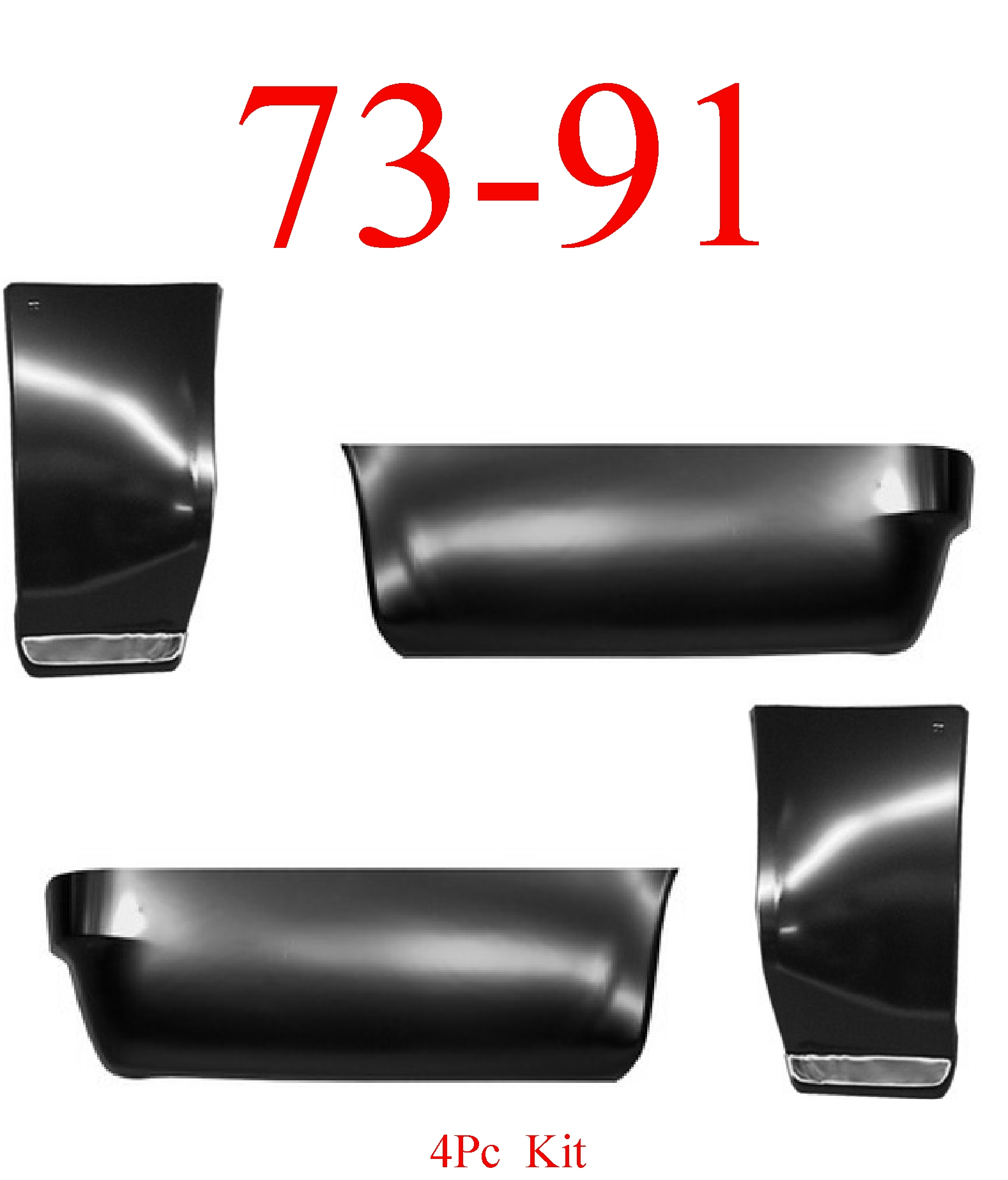 73-91 Chevy Suburban 4Pc Front & Rear Lower Quarter Panel Set