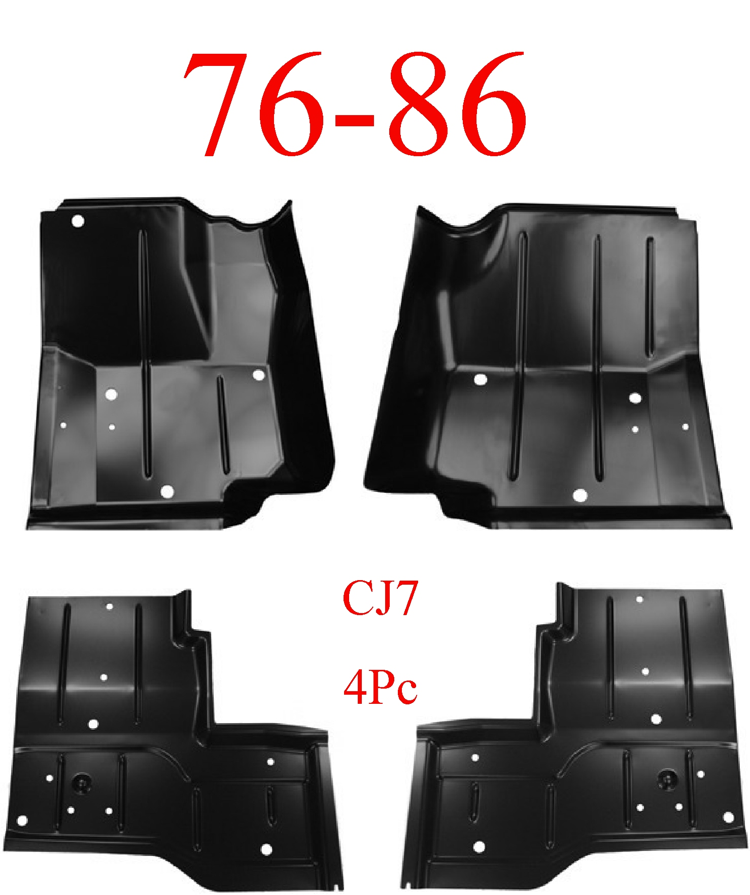 76-86 Jeep CJ7 4pc Floor Pan Set