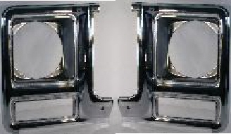 79-80 Chevy & GMC 2Pc Round Chrome Head Light Doors Set