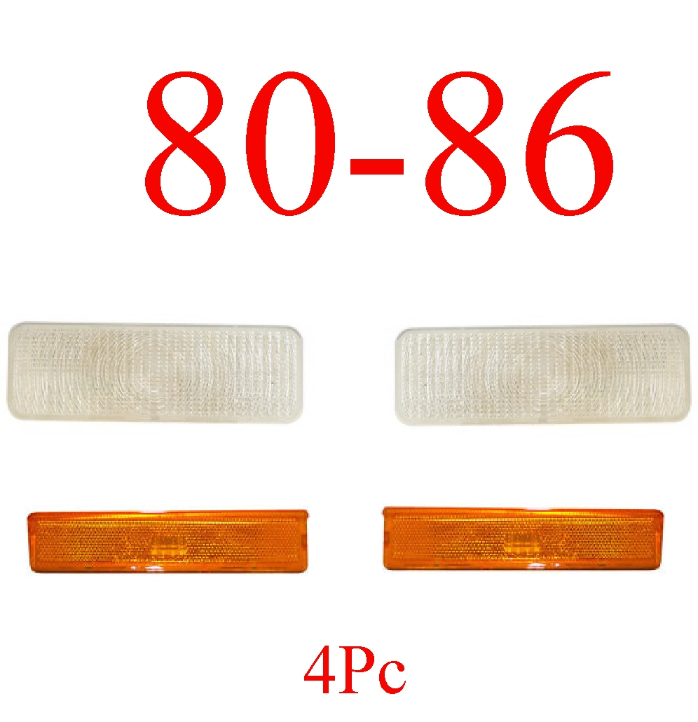 80-86 Ford Truck & Bronco Clear Parking Lights & Amber Sides