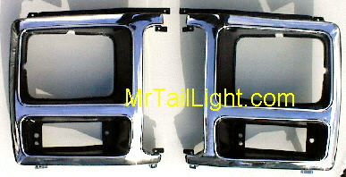 80-86 Ford Truck & Bronco Black & Chrome Head Light Doors 2Pc