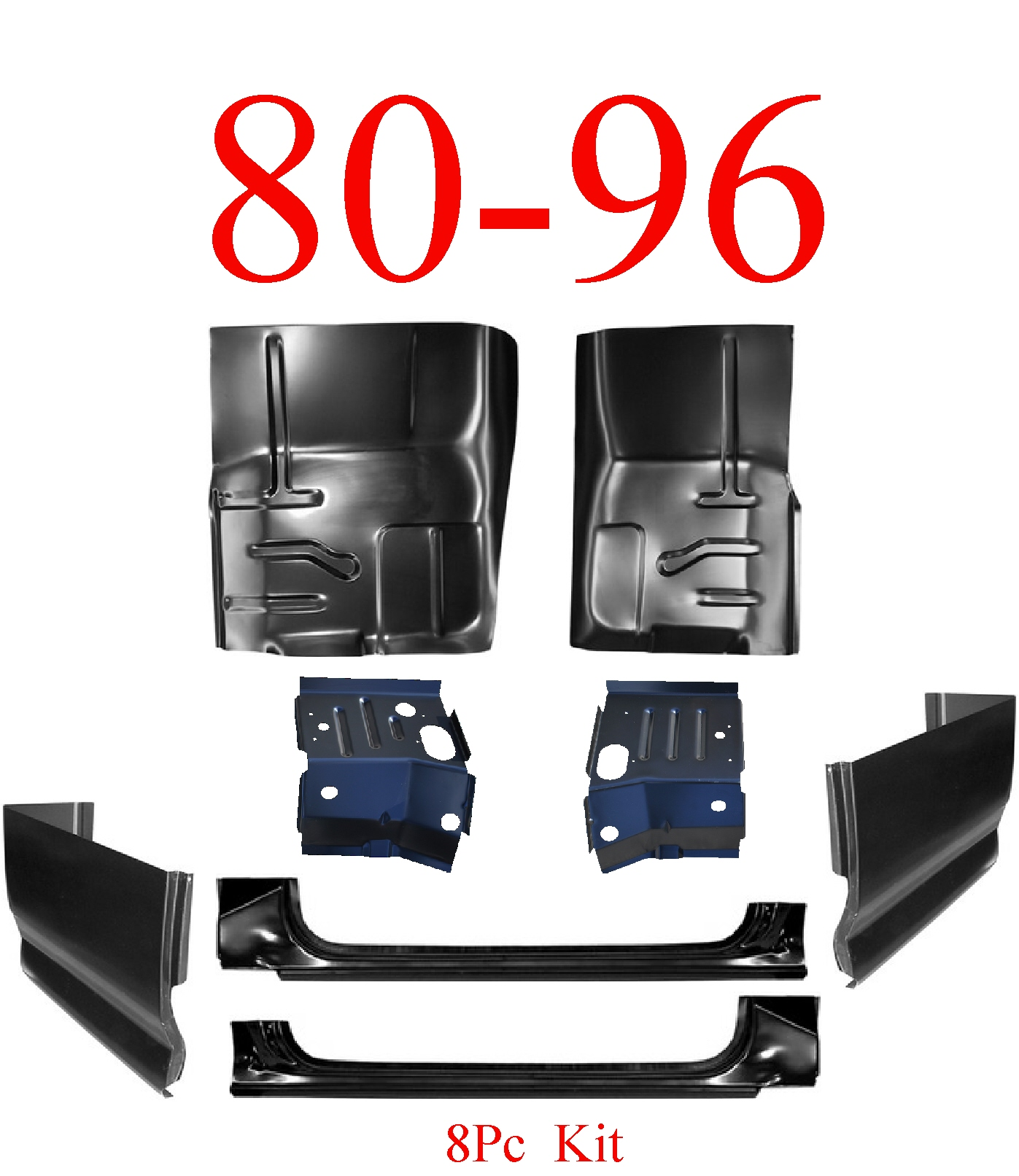 80-96 Ford 8Pc X-Rocker, X-Cab Corner, Floor & Cab Mount Kit