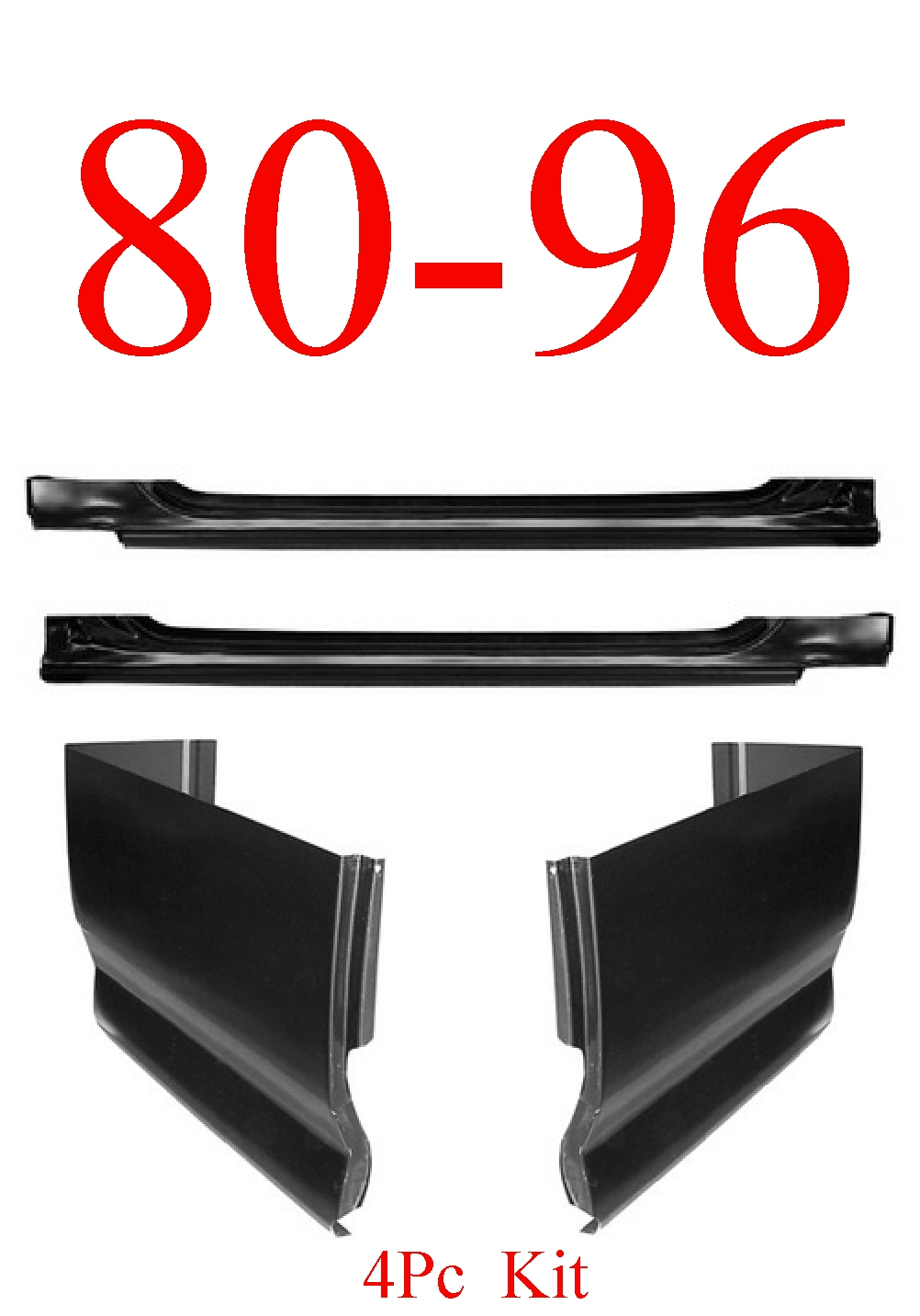 80-96 Ford 4Pc Slip-On Rocker & Extended Cab Corner Kit
