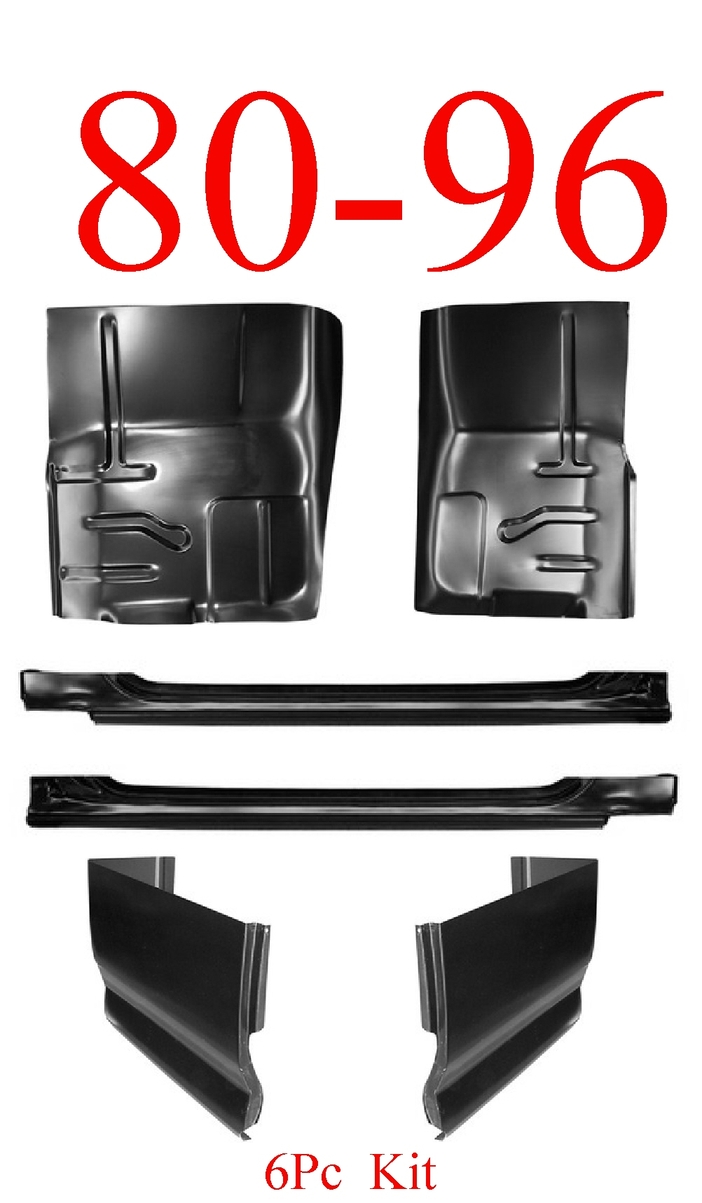 80-96 Ford 6Pc Slip-On Rocker, Extended Cab Corner & Floor Kit