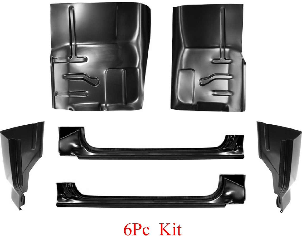 80-96 Ford 6Pc Extended Rocker, Cab Corner & Floor Kit
