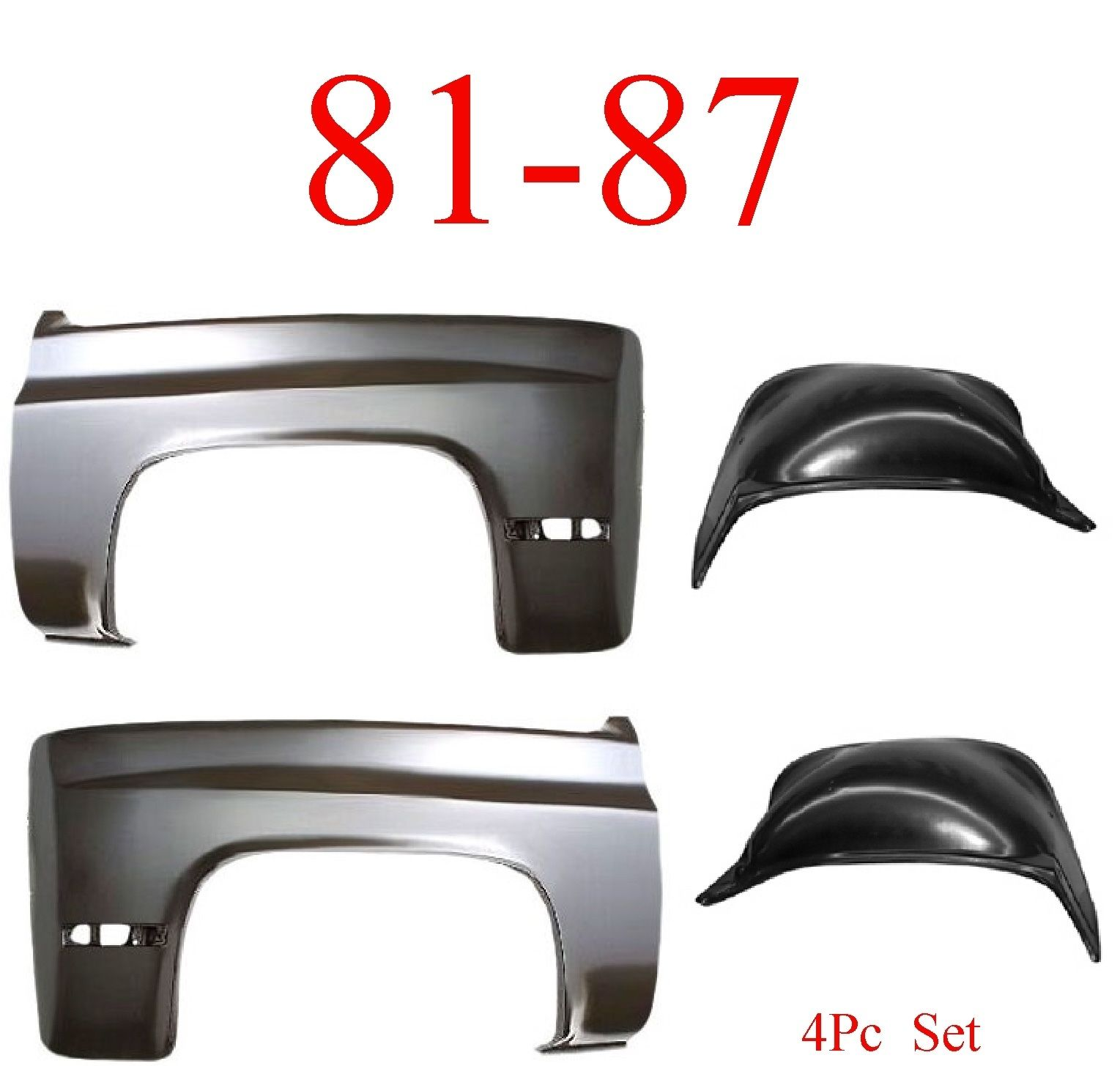81-87 Chevy 4Pc Front Inner & Outer Fender Set