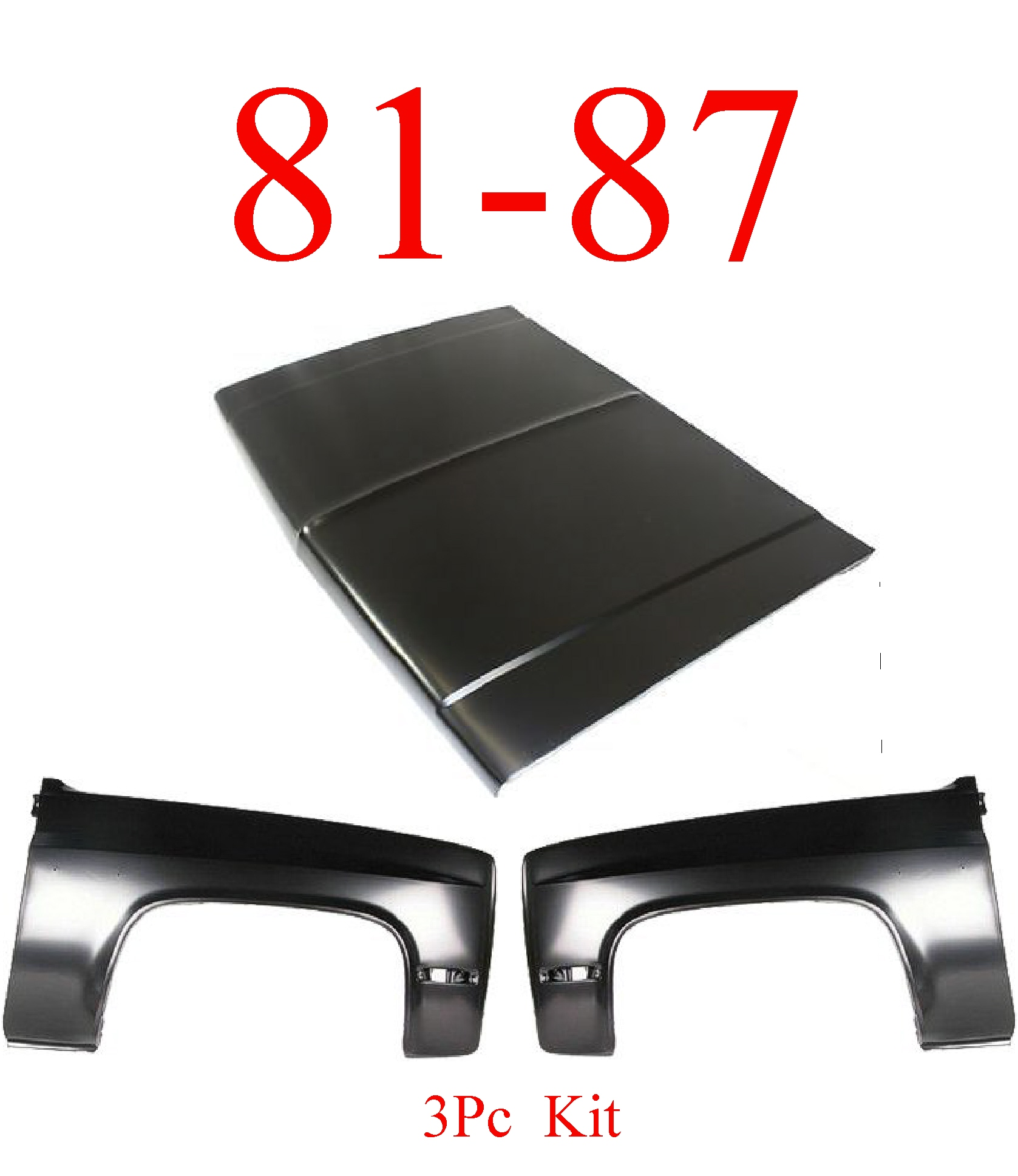 81-87 3Pc Chevy Steel Hood & Fenders