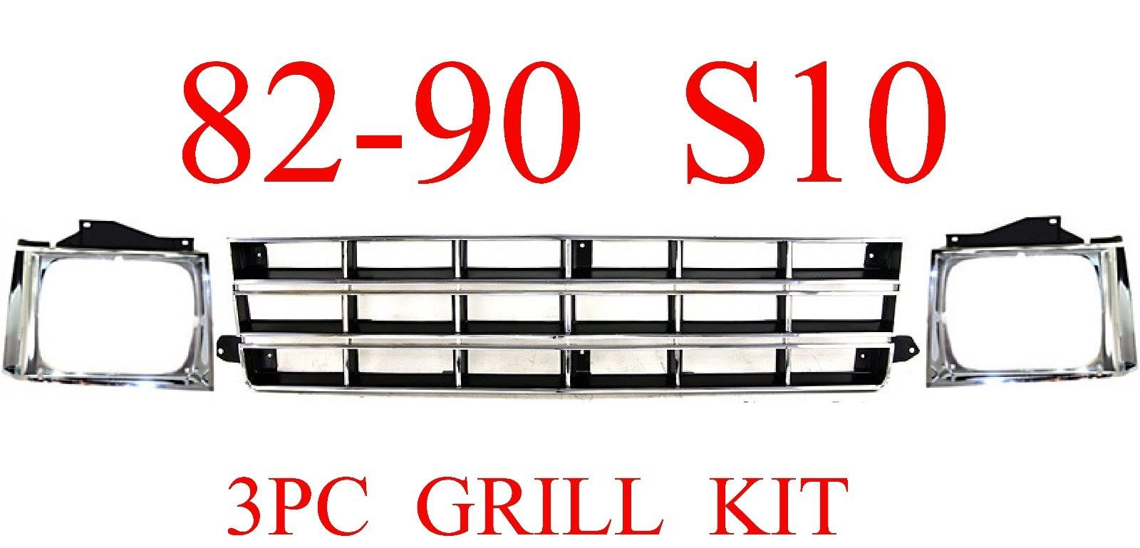 82-90 Chevy S10 3Pc Grill & Head Light Door Kit