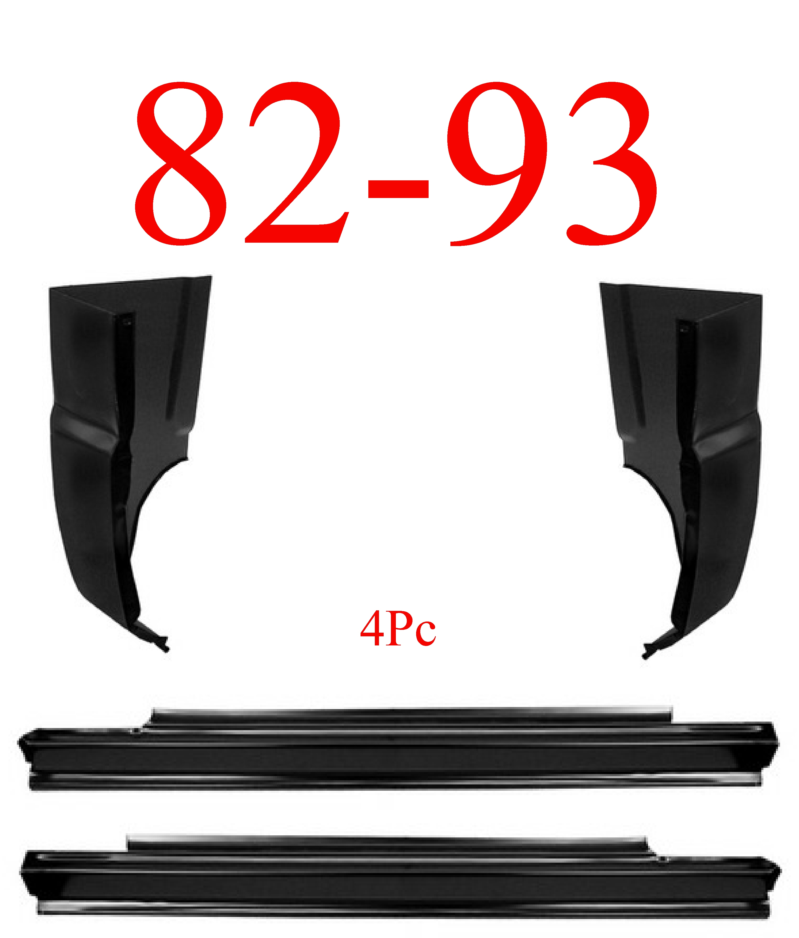 82-93 Chevy S10 4Pc Slip-On Rocker & Cab Corner