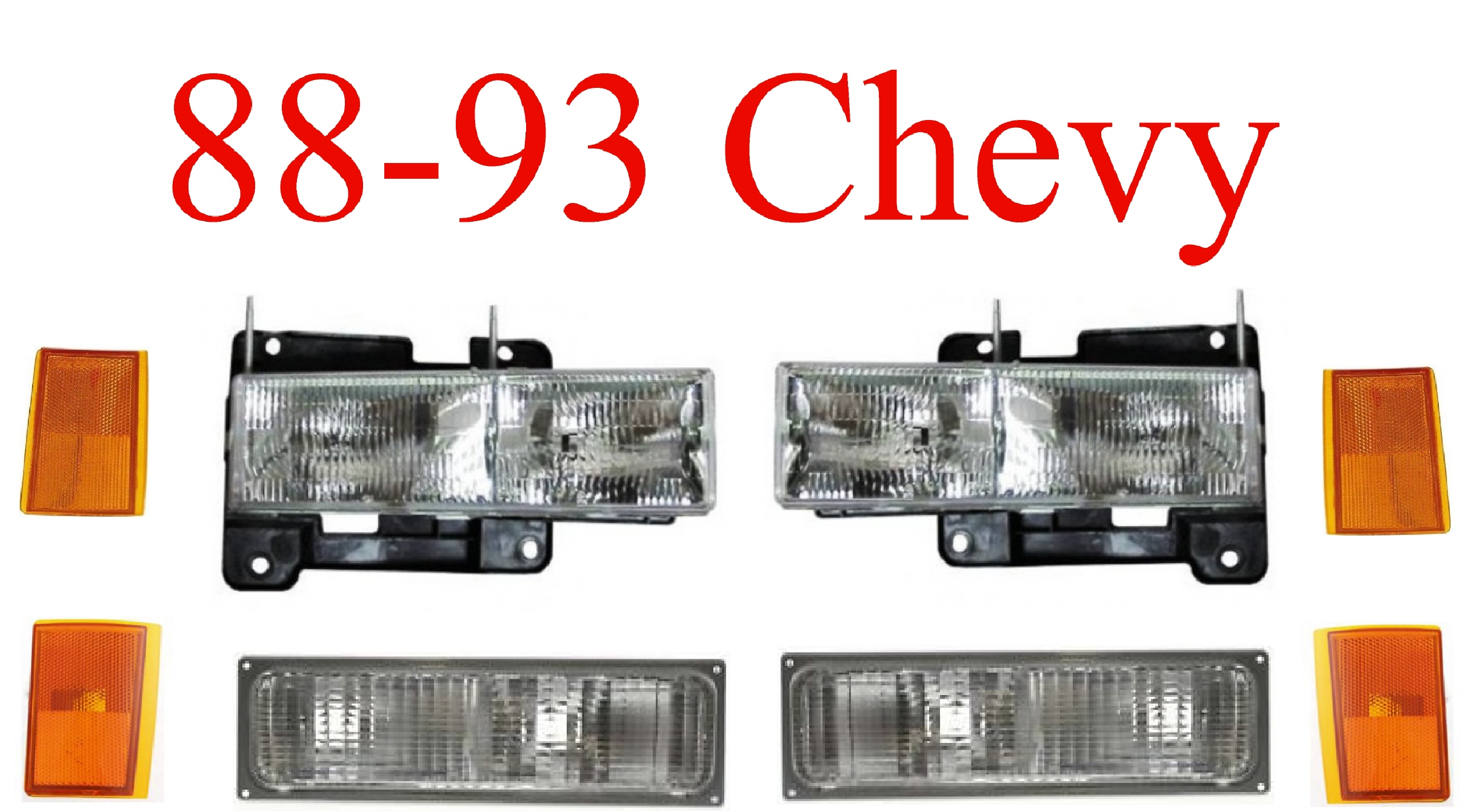 88-93 GMC 8Pc Head Light, Tail Light, Parking & Side Lights