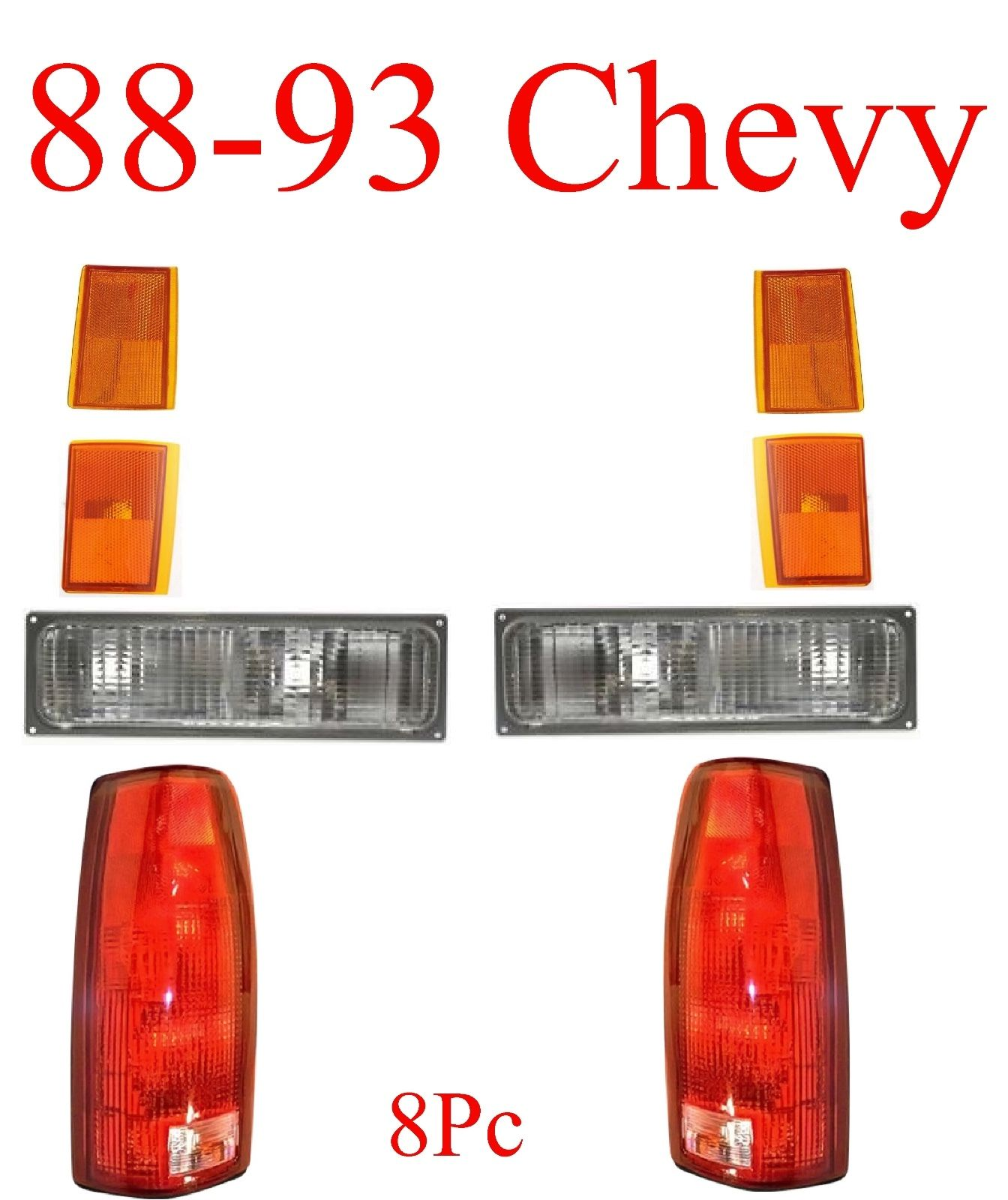 88-93 Chevy 8Pc Tail, Parking & Side Amber Light Kit
