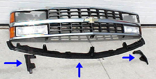 88-93 Chevy GMC Truck 3Pc Bumper Filler Kit