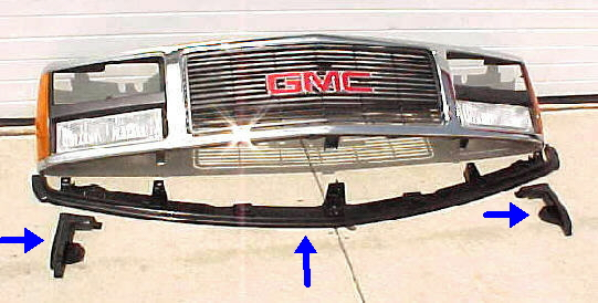88-93 GMC Truck 3Pc Bumper Filler Kit